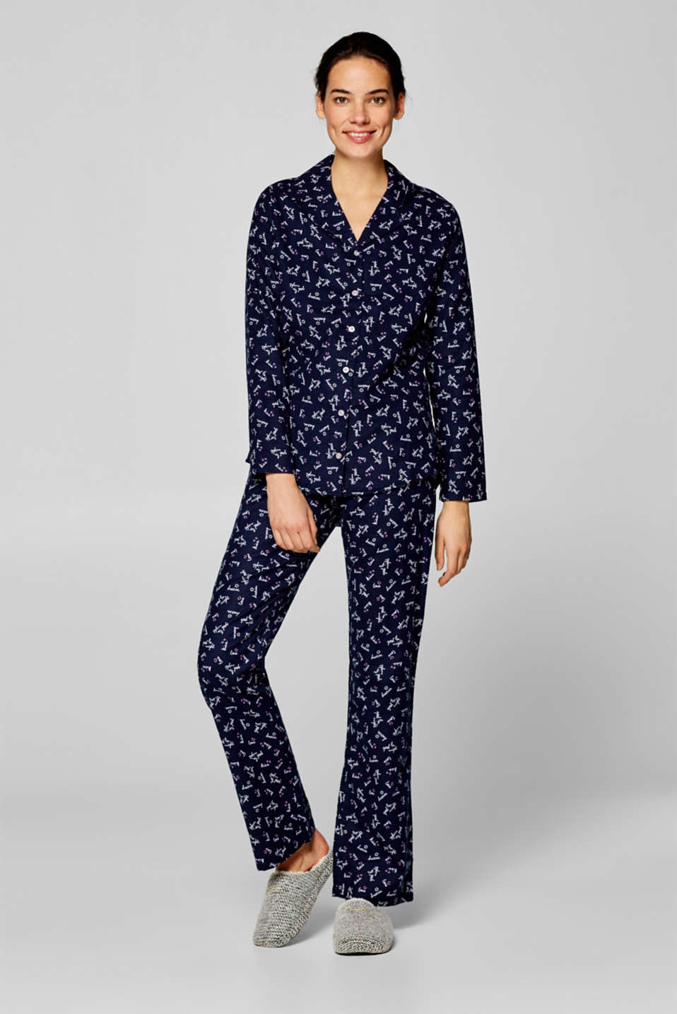 Esprit - Flannel pyjamas with printed lettering, 100% cotton