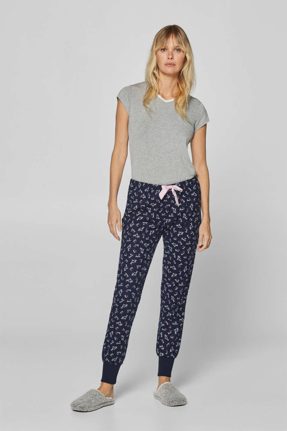 Esprit - Flannel pyjama bottoms, 100% cotton