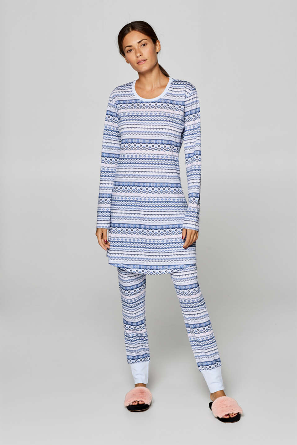 Esprit - Jersey pattern mix nightshirt, 100% cotton
