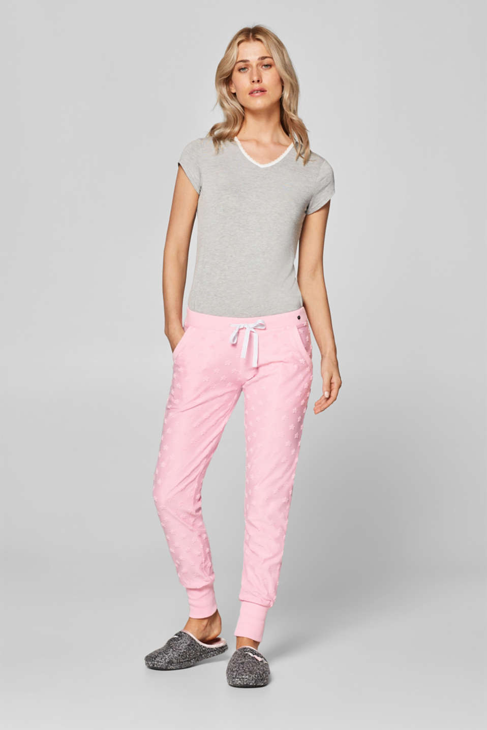 Esprit - Jersey trousers with a star texture