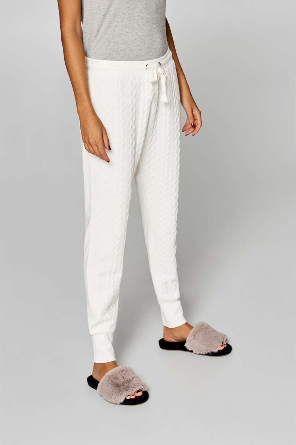Esprit - Pyjama bottoms with a braided texture