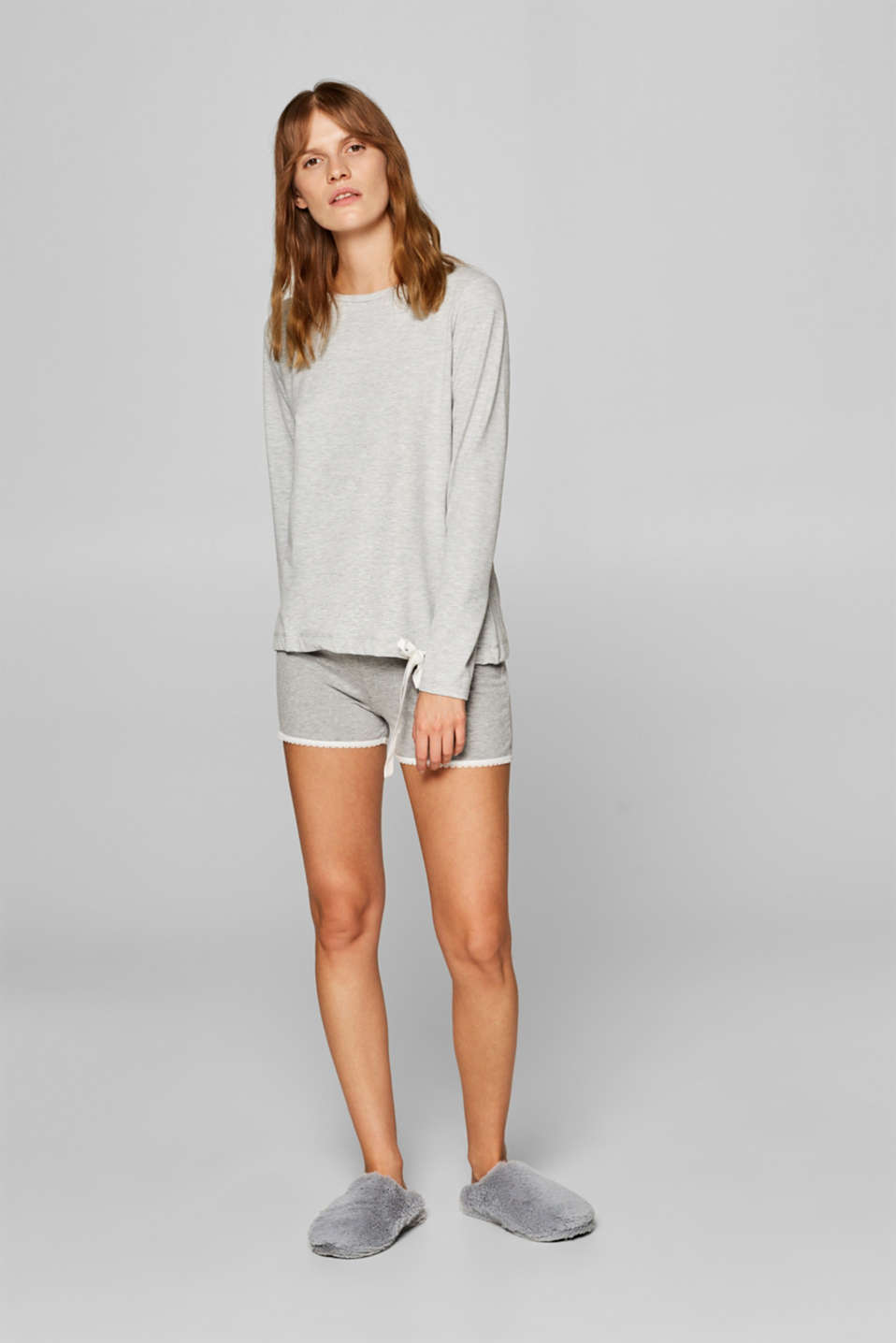 Esprit - Long sleeve pyjama top in stretch jersey