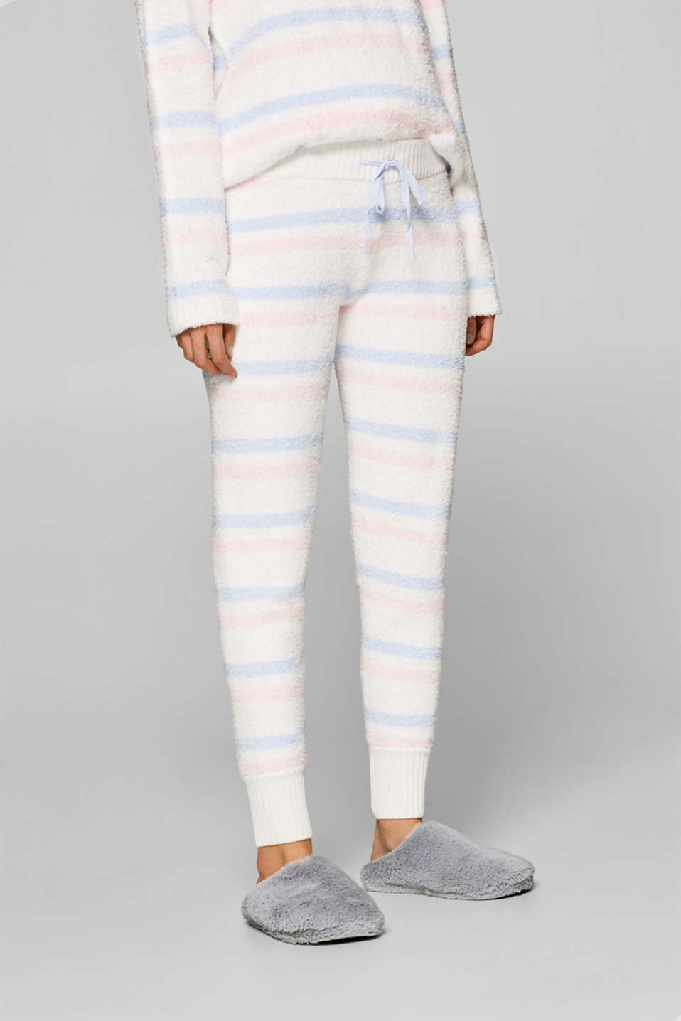 Esprit - Striped tracksuit bottoms in a plush look