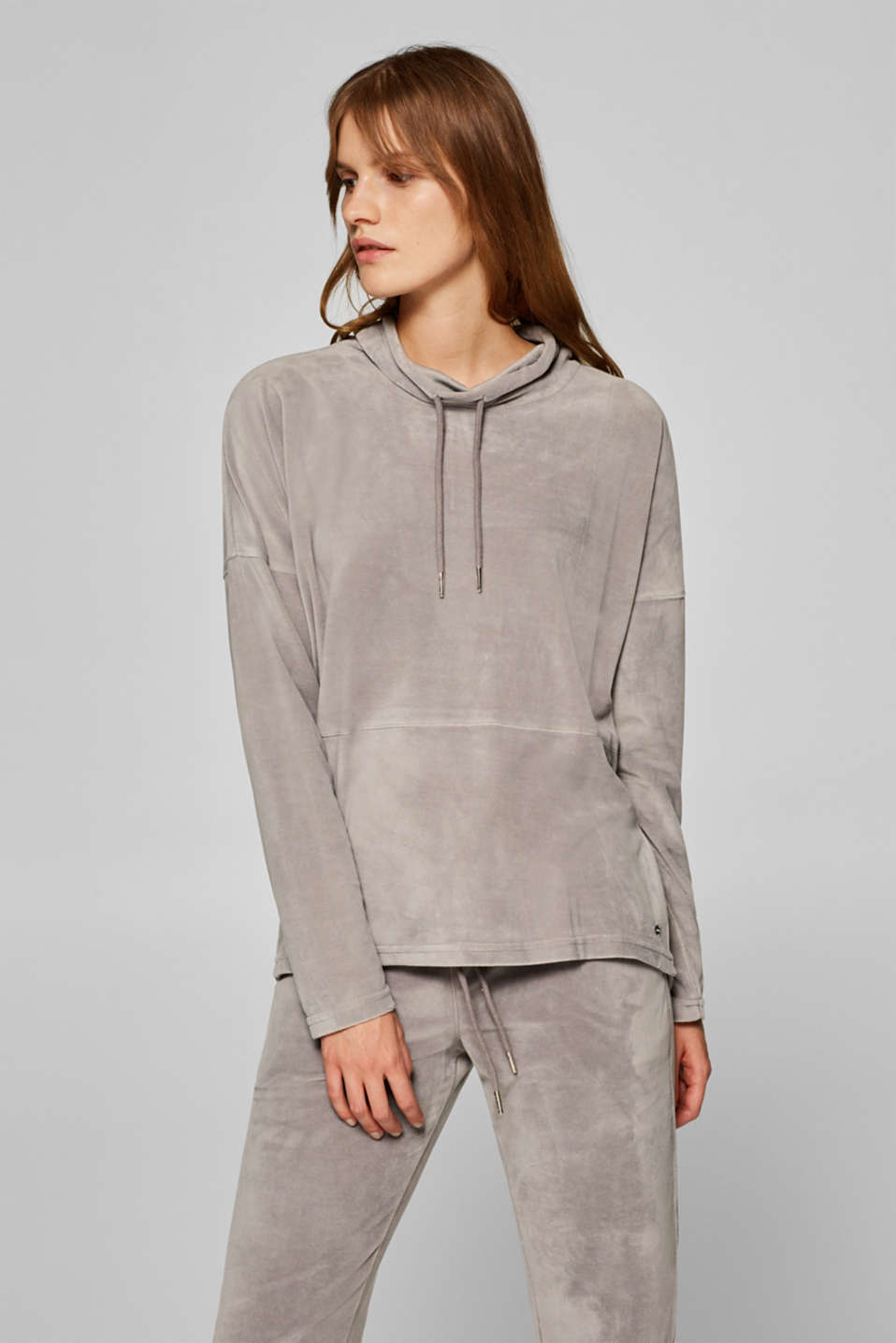 Esprit - Velour jumper with a drawstring collar