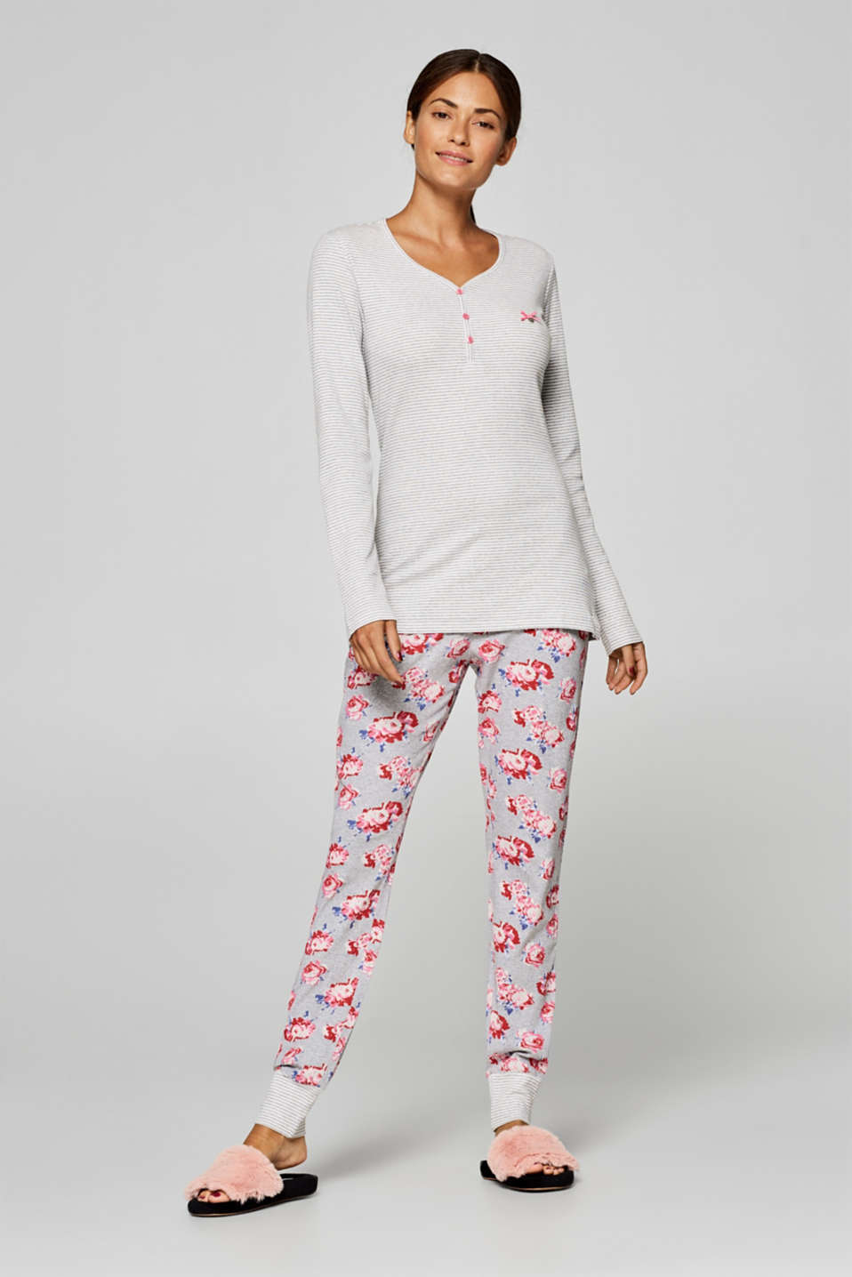 Esprit - Jersey pyjamas in a trendy pattern mix