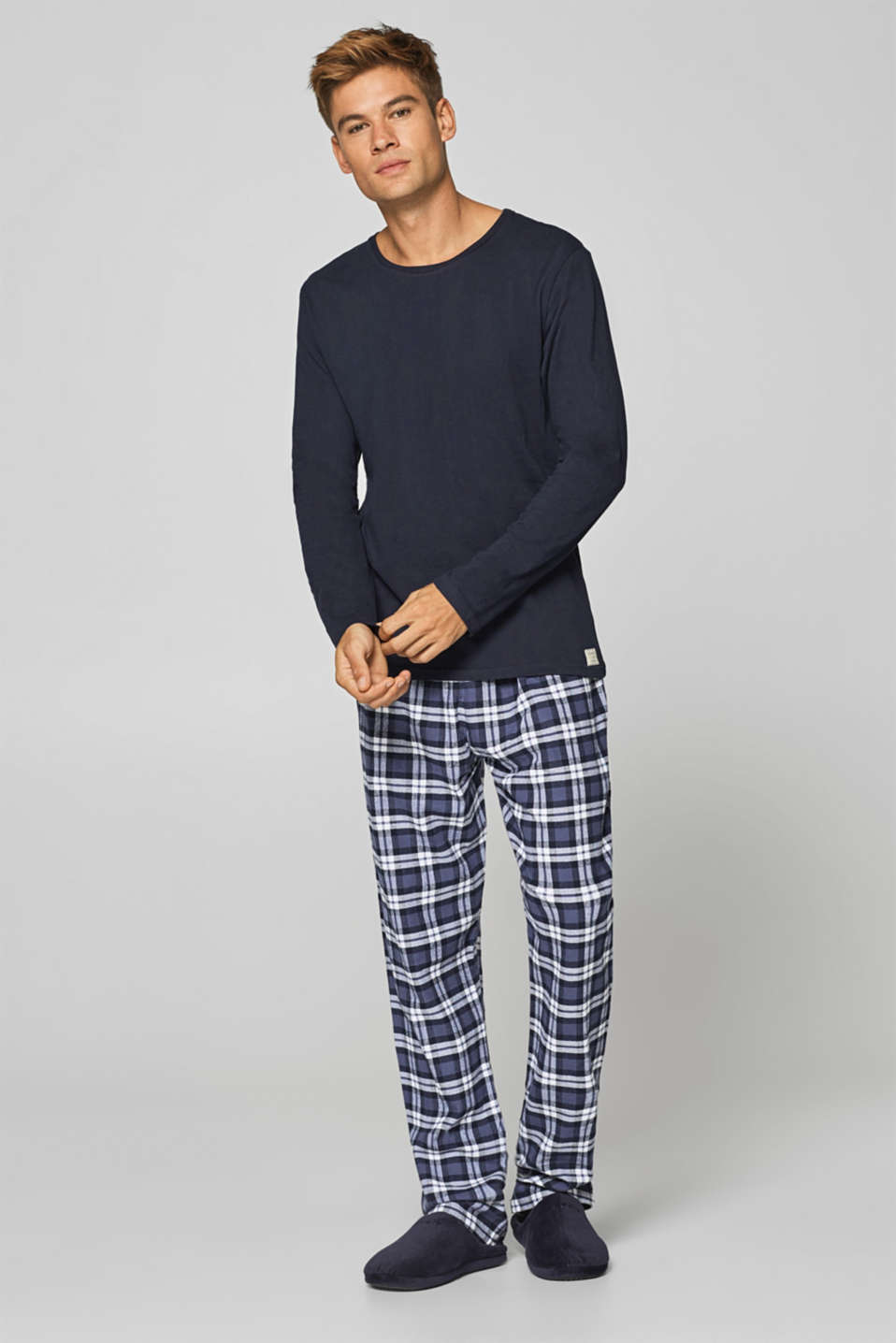 Esprit - Pyjamas with flannel bottoms, 100% cotton