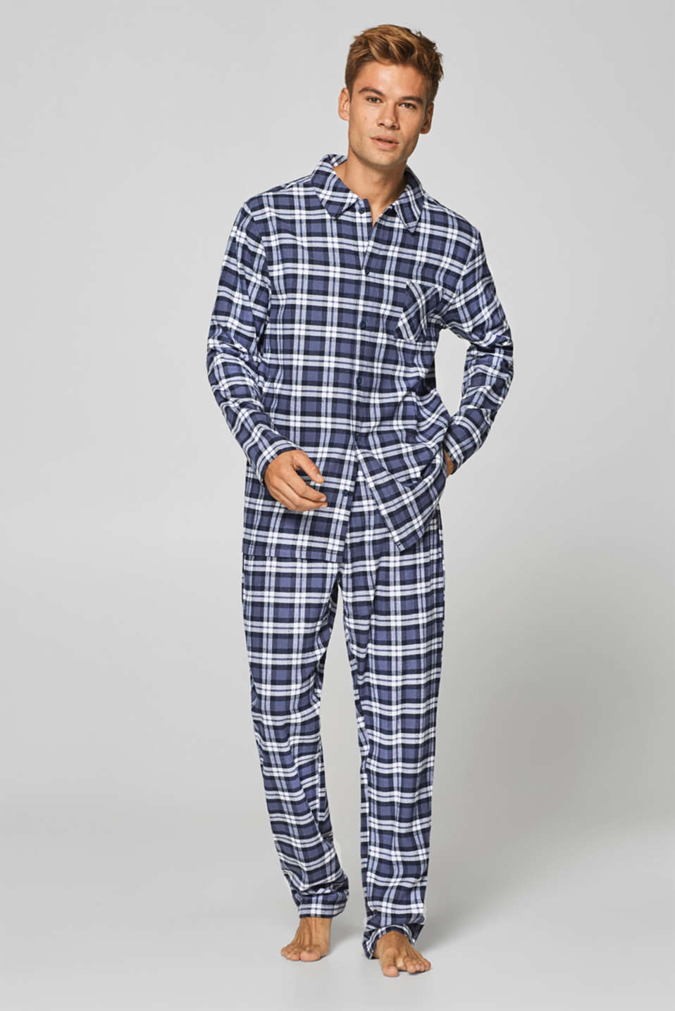 Esprit - Checked flannel pyjamas in 100% cotton
