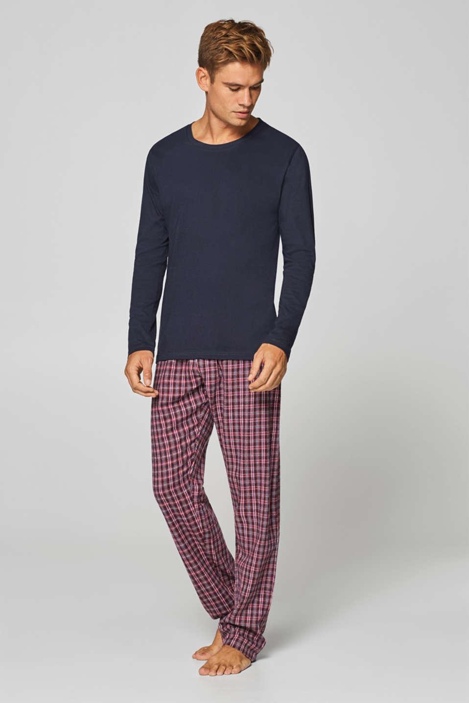 30652a34 Esprit - Pyjamas with flannel bottoms, 100% cotton at our Online Shop