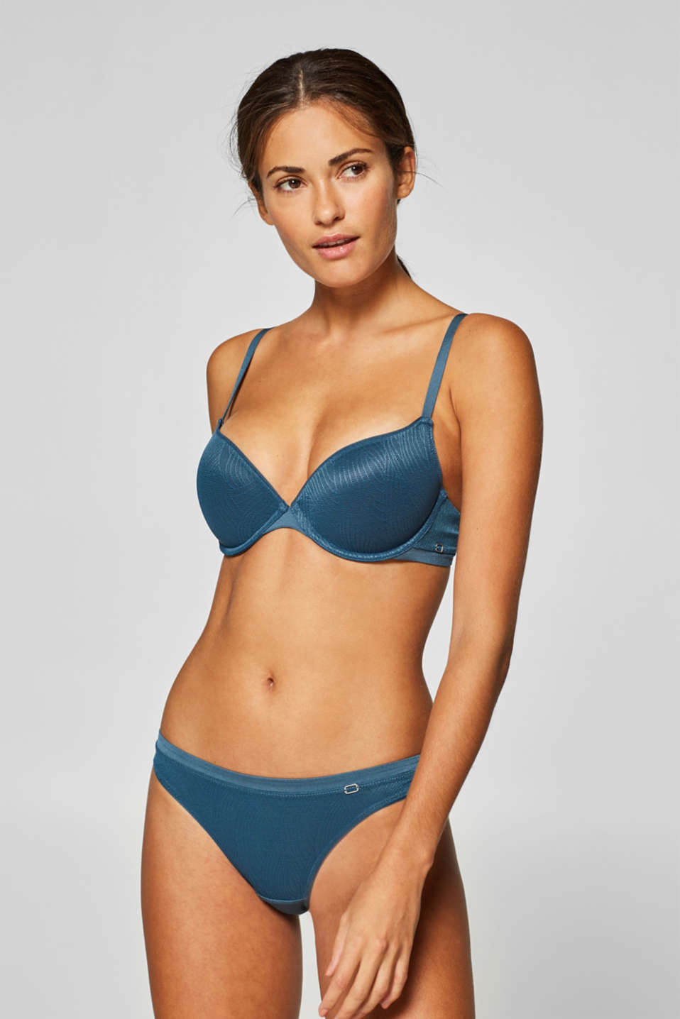 Esprit - NYE padded push-up bra with a leaf pattern