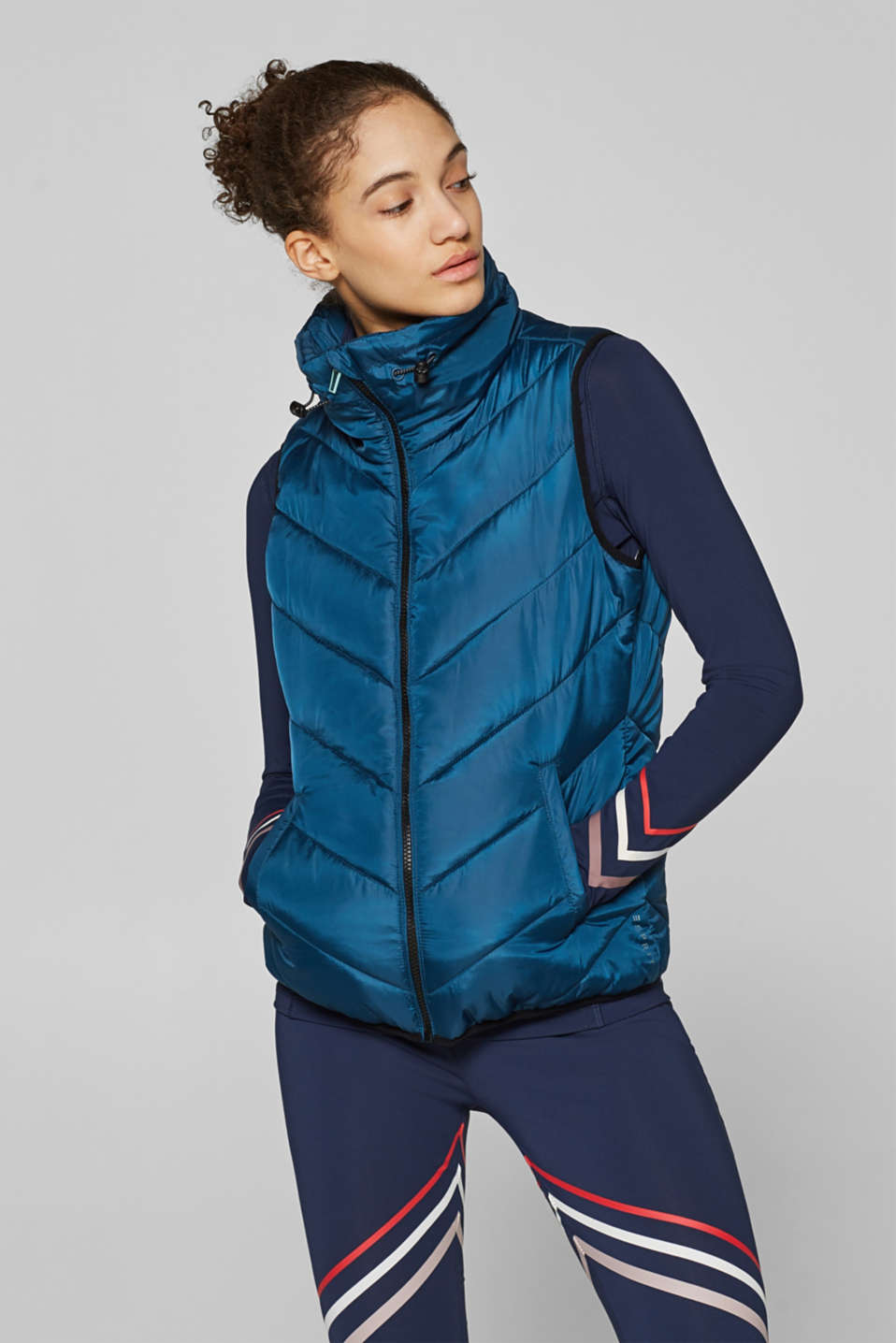 Esprit - Lightweight quilted body warmer with a stand-up collar