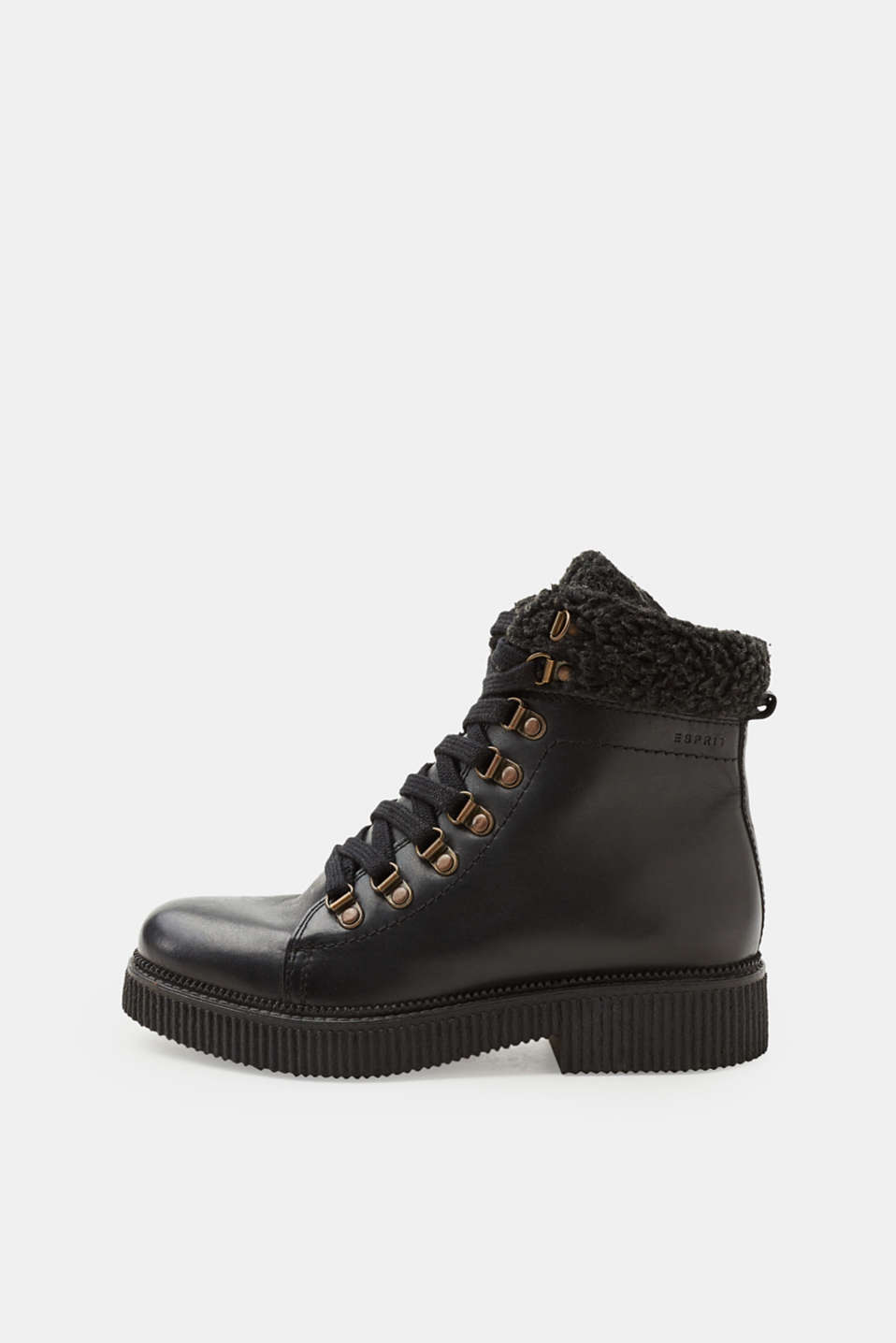 Esprit - Lace-up boots trimmed with teddy fur