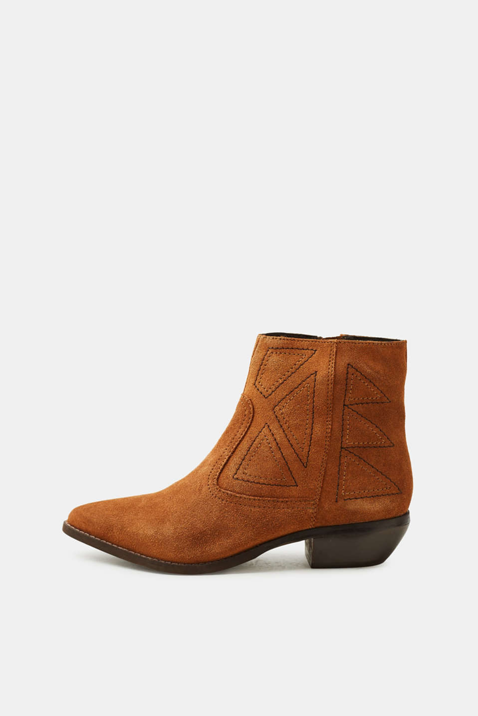 Esprit - Leather pointed ankle boots with embroidery
