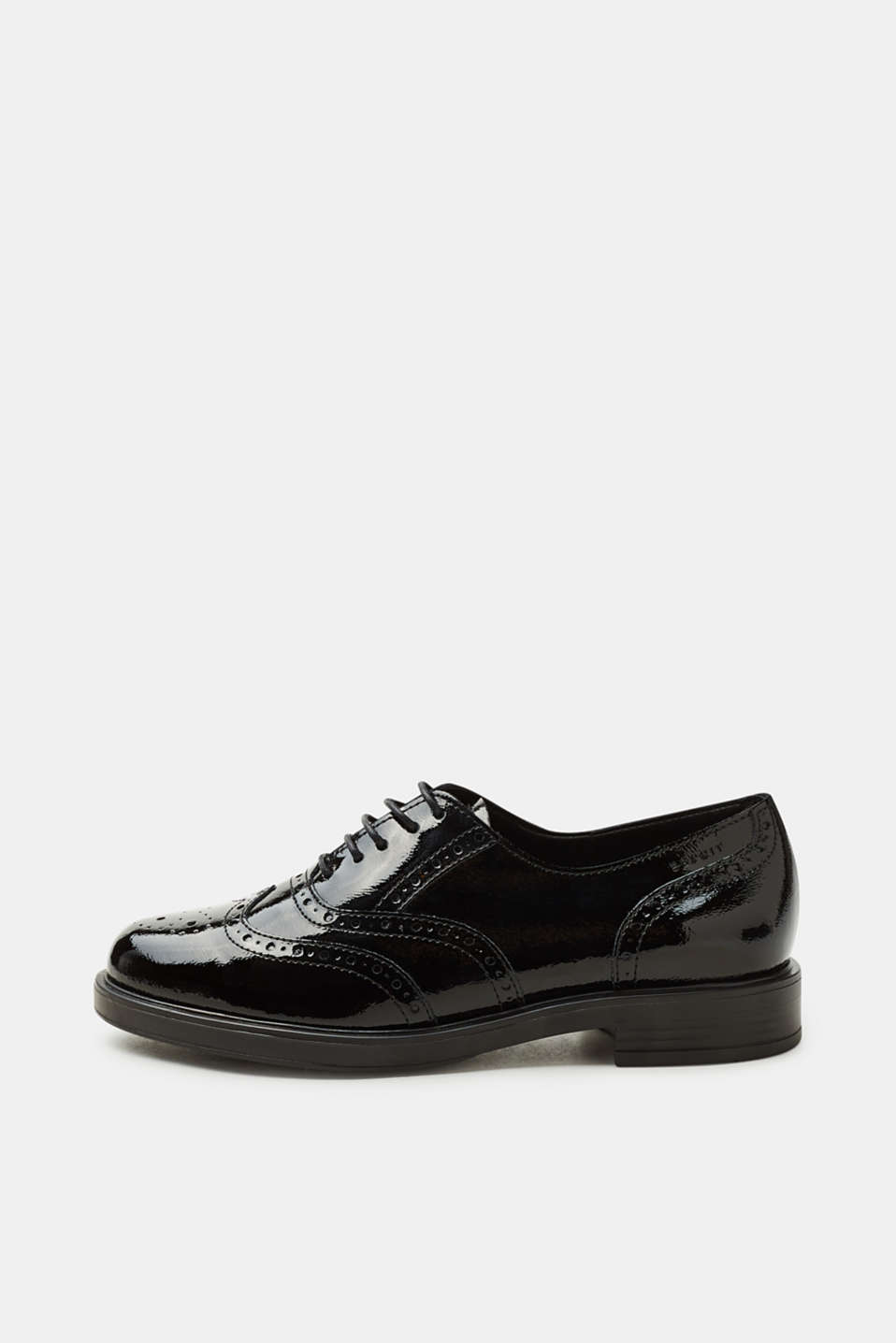 Esprit - Patent leather brogues with a brogue pattern
