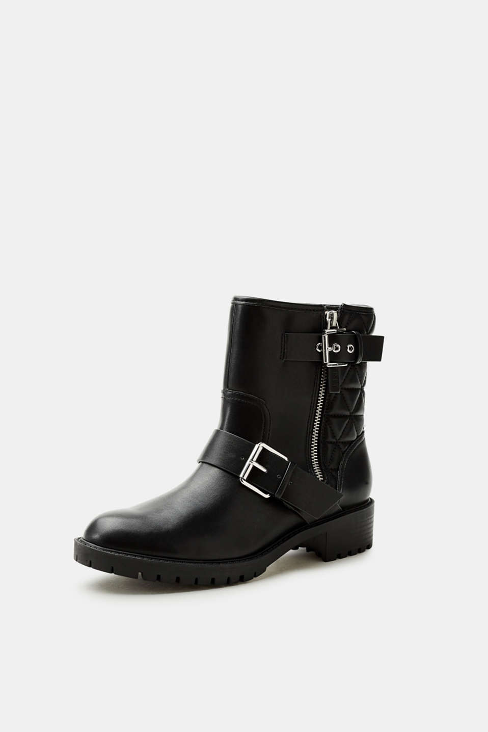 Biker boots in smooth faux leather