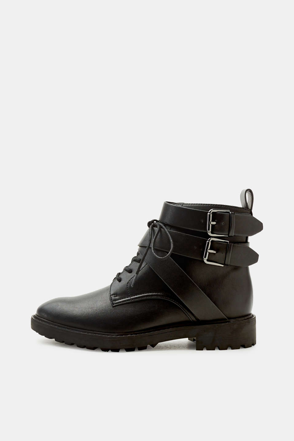 Esprit - Lace-up boots with straps in faux leather