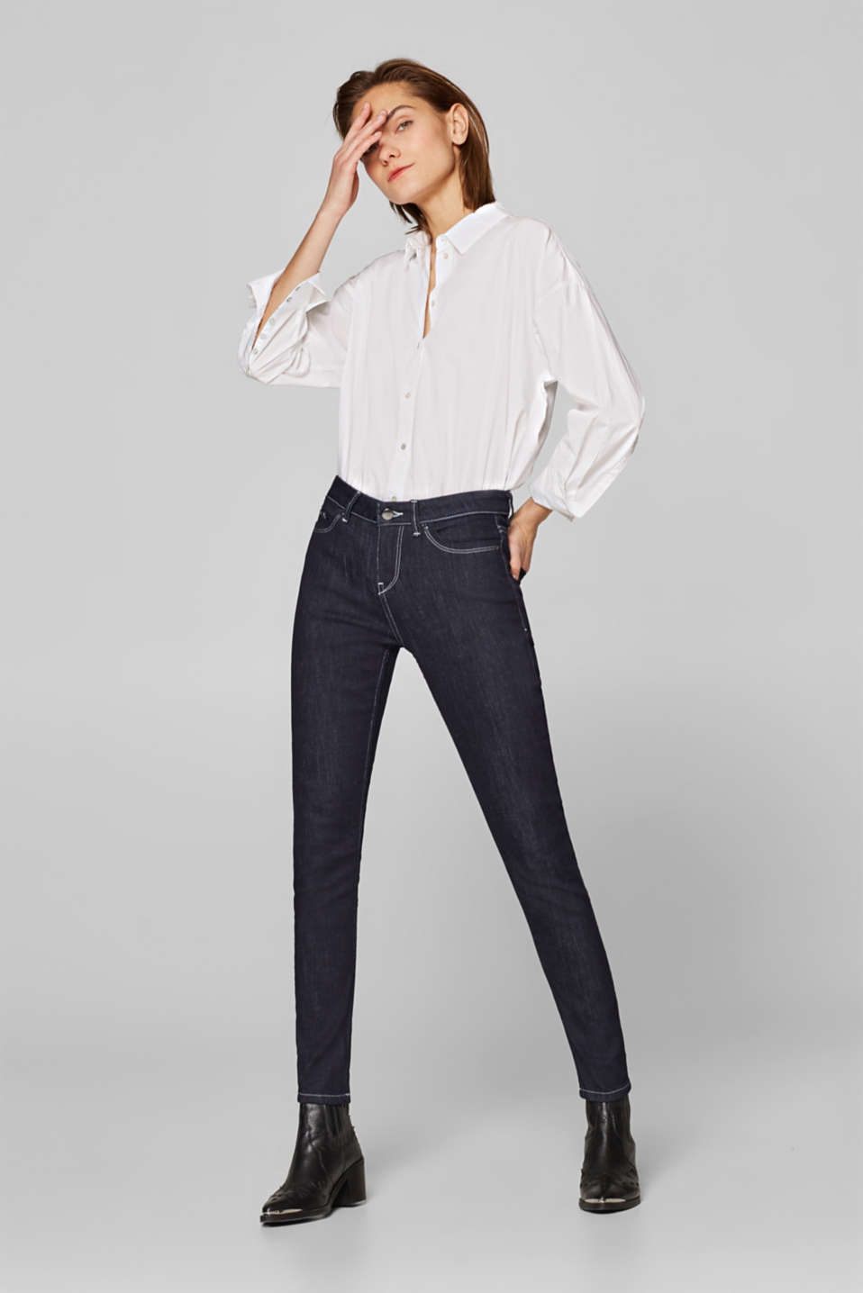 Esprit - Stretch jeans with contrasting stitching