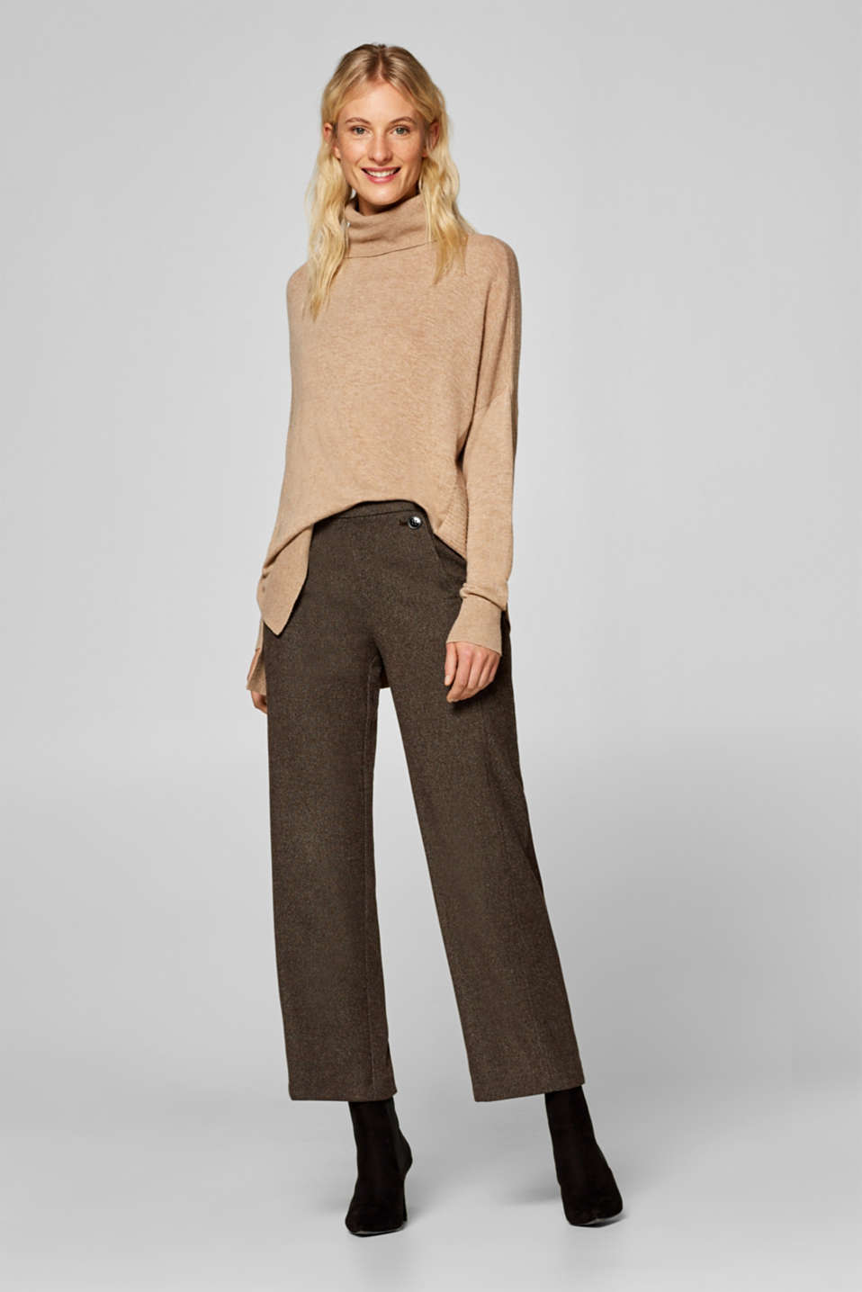 Esprit - Two-tone stretch trousers with a wide leg