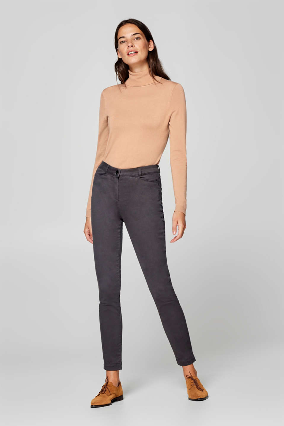 Esprit - Soft stretchy trousers with a high waistband