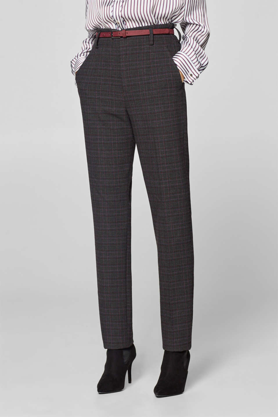 Esprit - Checked trousers with a high waistband and a belt