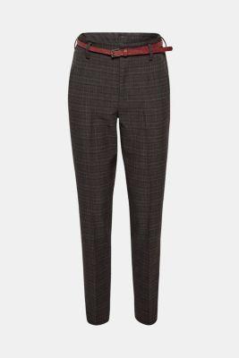 Esprit – Kárované kalhoty s vysokým pasem a opaskem v našem on-line ... 0f4c652c92