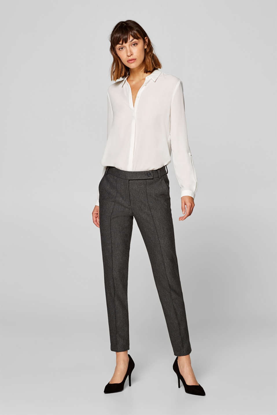 Esprit - MINI HERRINGBONE mix + match stretch trousers