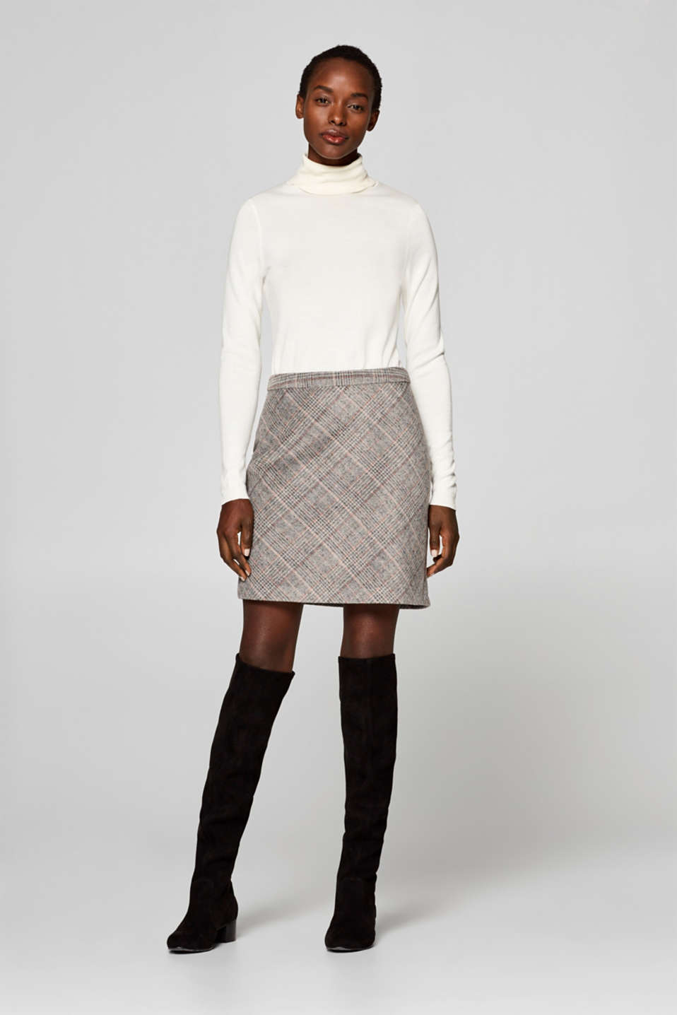 Esprit - Checked mini skirt with wool