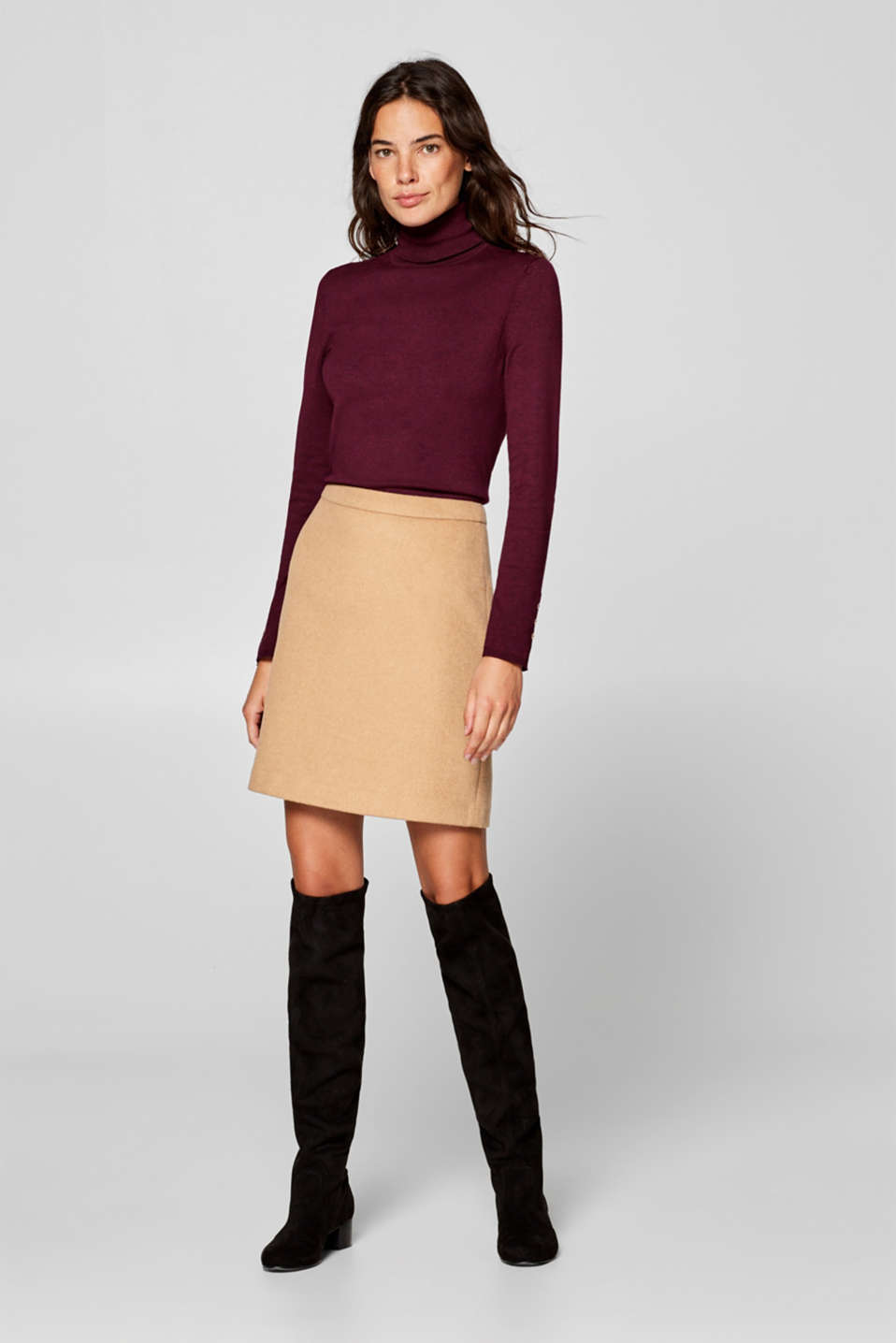 Esprit - Wool blend: A-line mini skirt