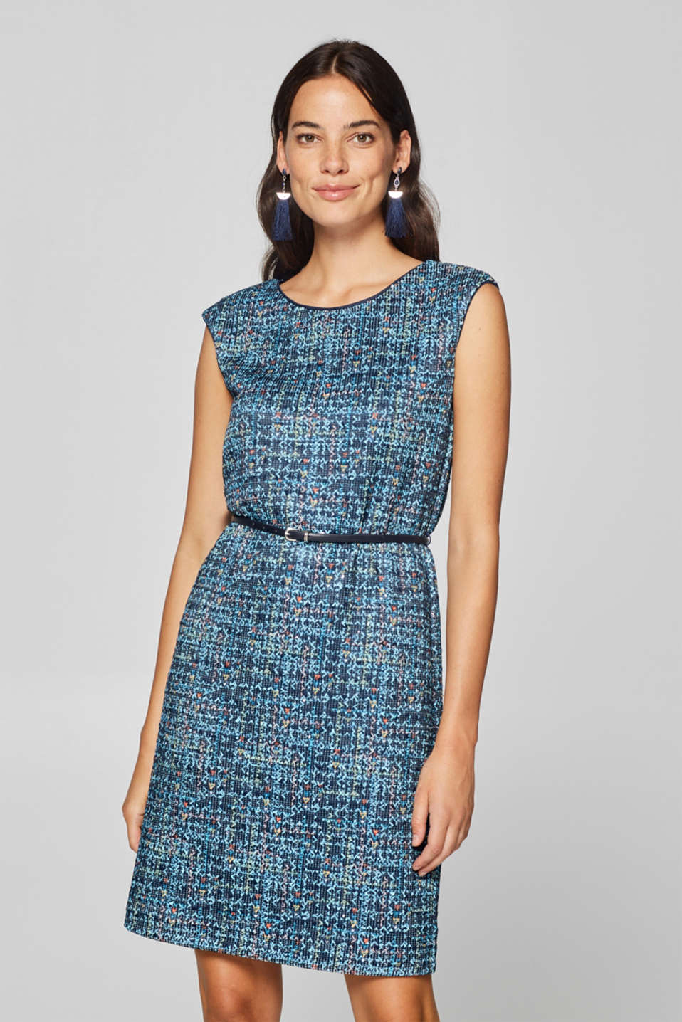 Esprit - Sheath dress in stretch jersey with sequins