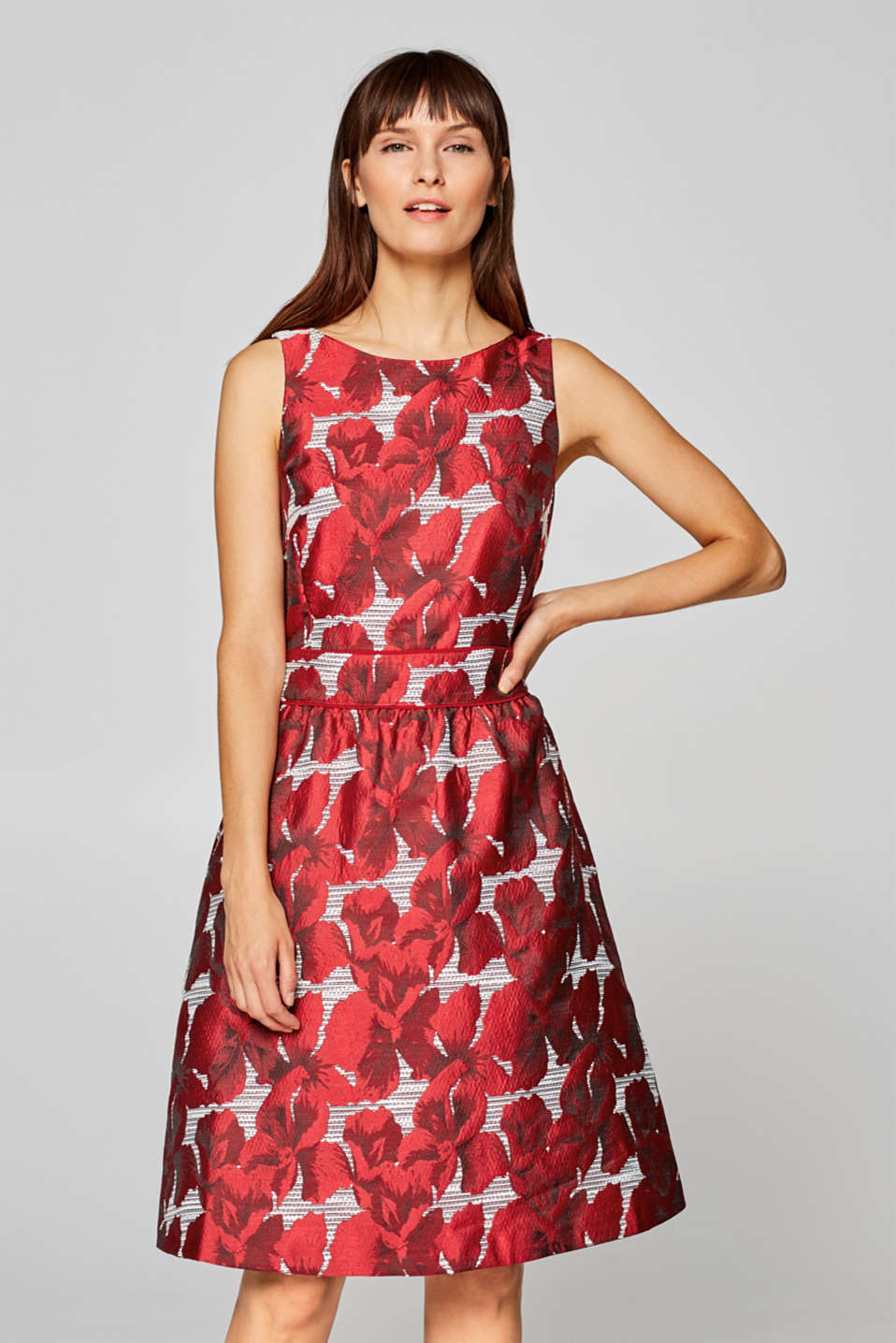 Esprit - Dress with a shimmering jacquard pattern