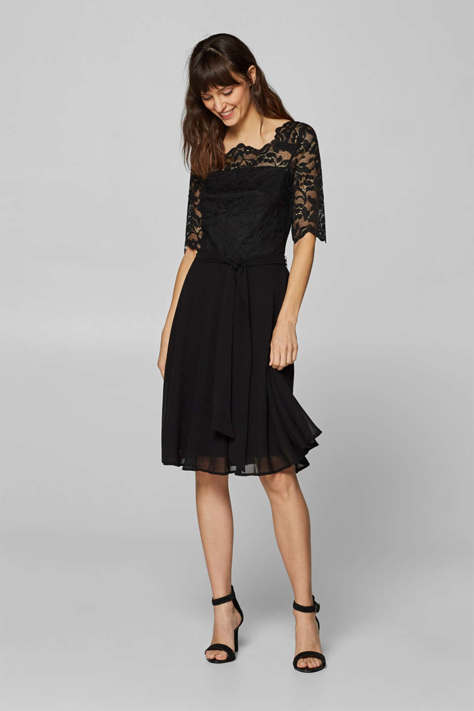 Esprit - Dress in stretchy lace and chiffon
