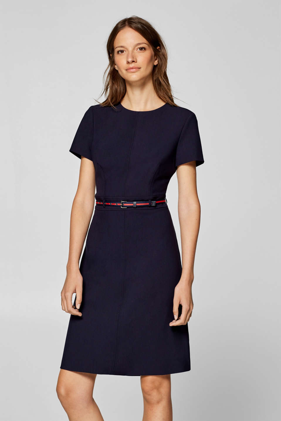 Esprit - Sheath dress with a belt and stretch for comfort