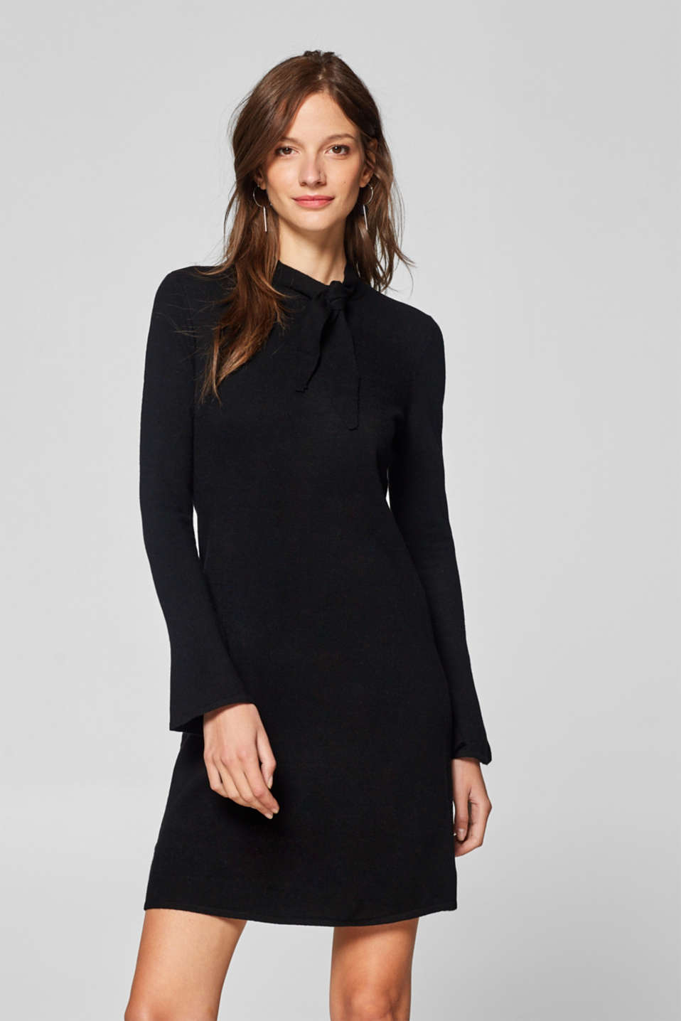 Esprit - Cashmere blend: knit dress with ties