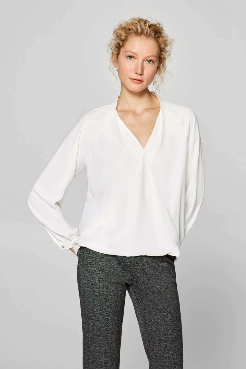 Esprit - Blouse with a wrap-over effect