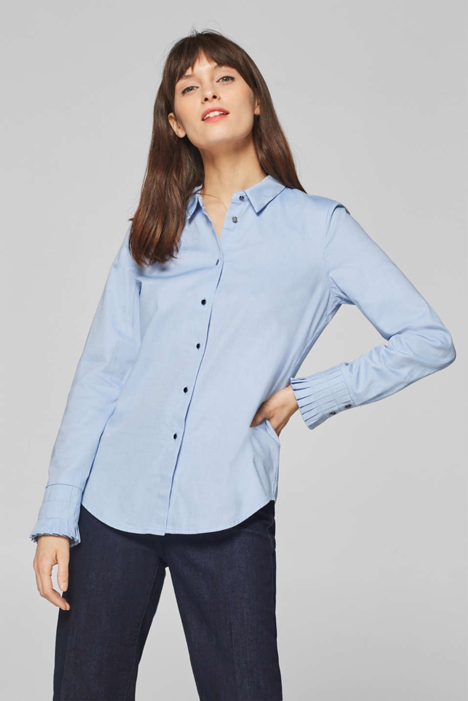 Esprit - Blouse with pleated cuffs, 100% cotton