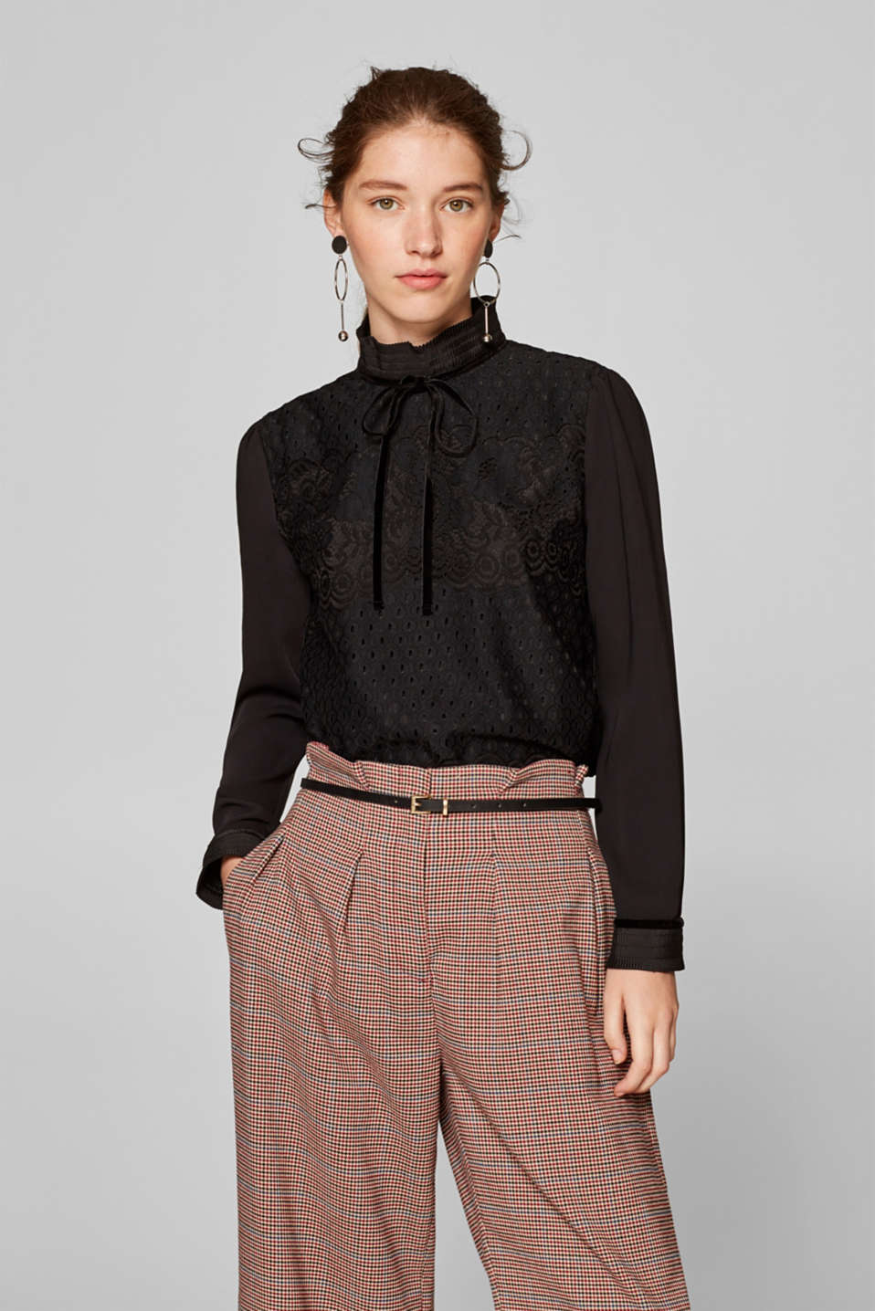 Esprit - Lace blouse with a pleated stand-up collar