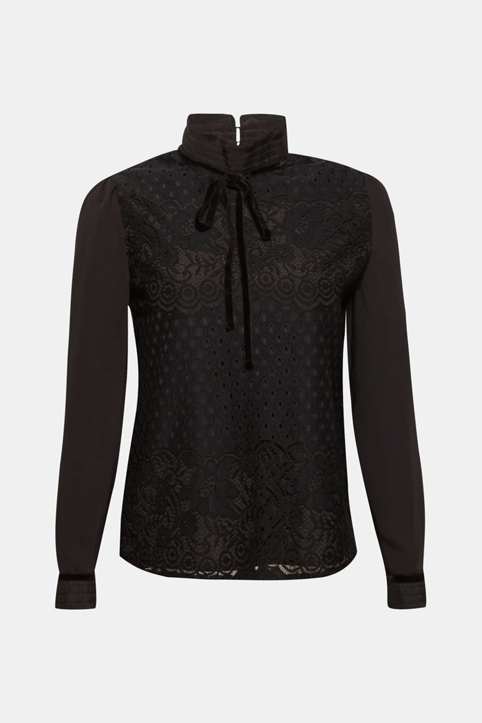 c6dd74a264432 Esprit - Lace blouse with a pleated stand-up collar at our Online Shop
