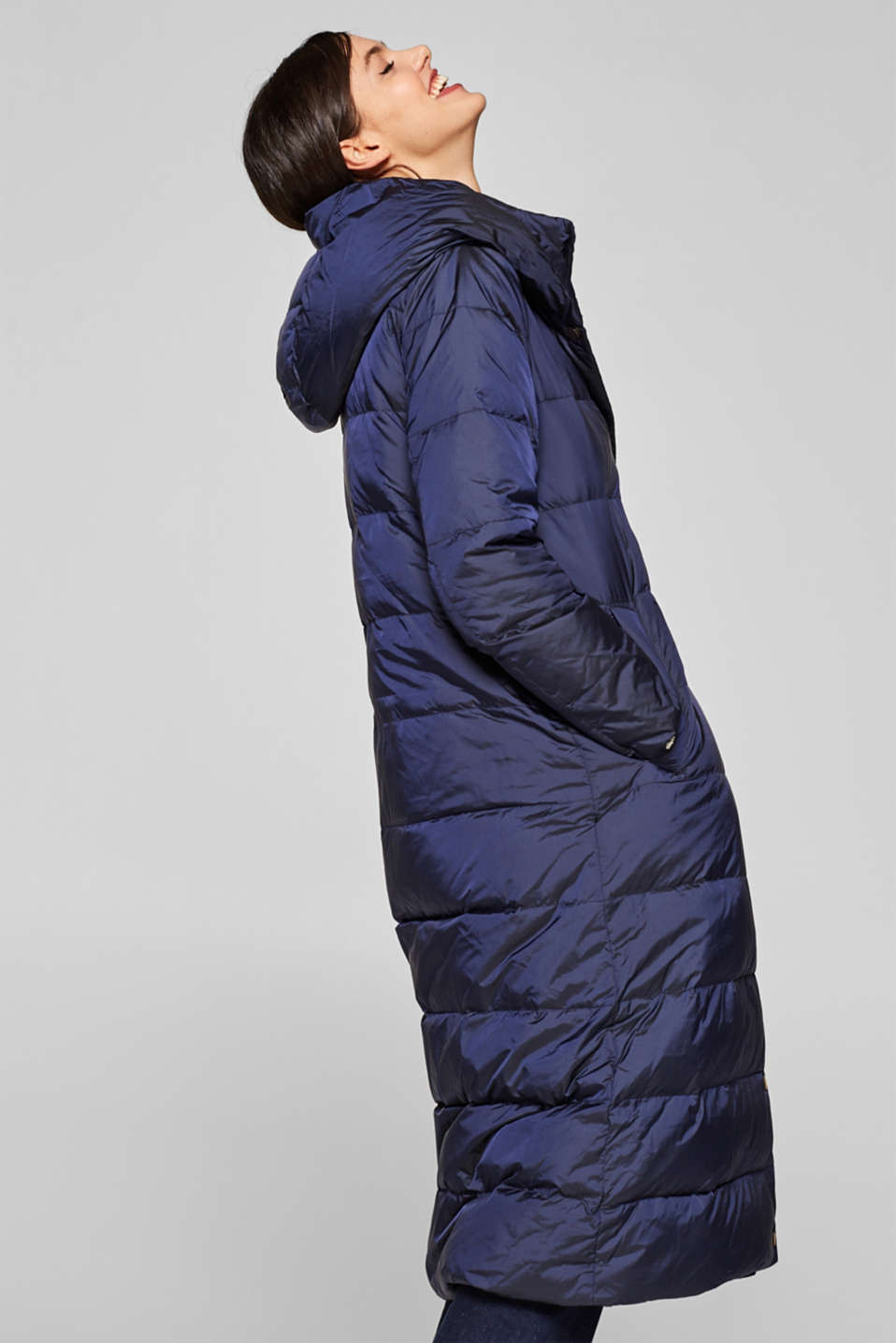 Esprit - Down coat with a hood and press studs
