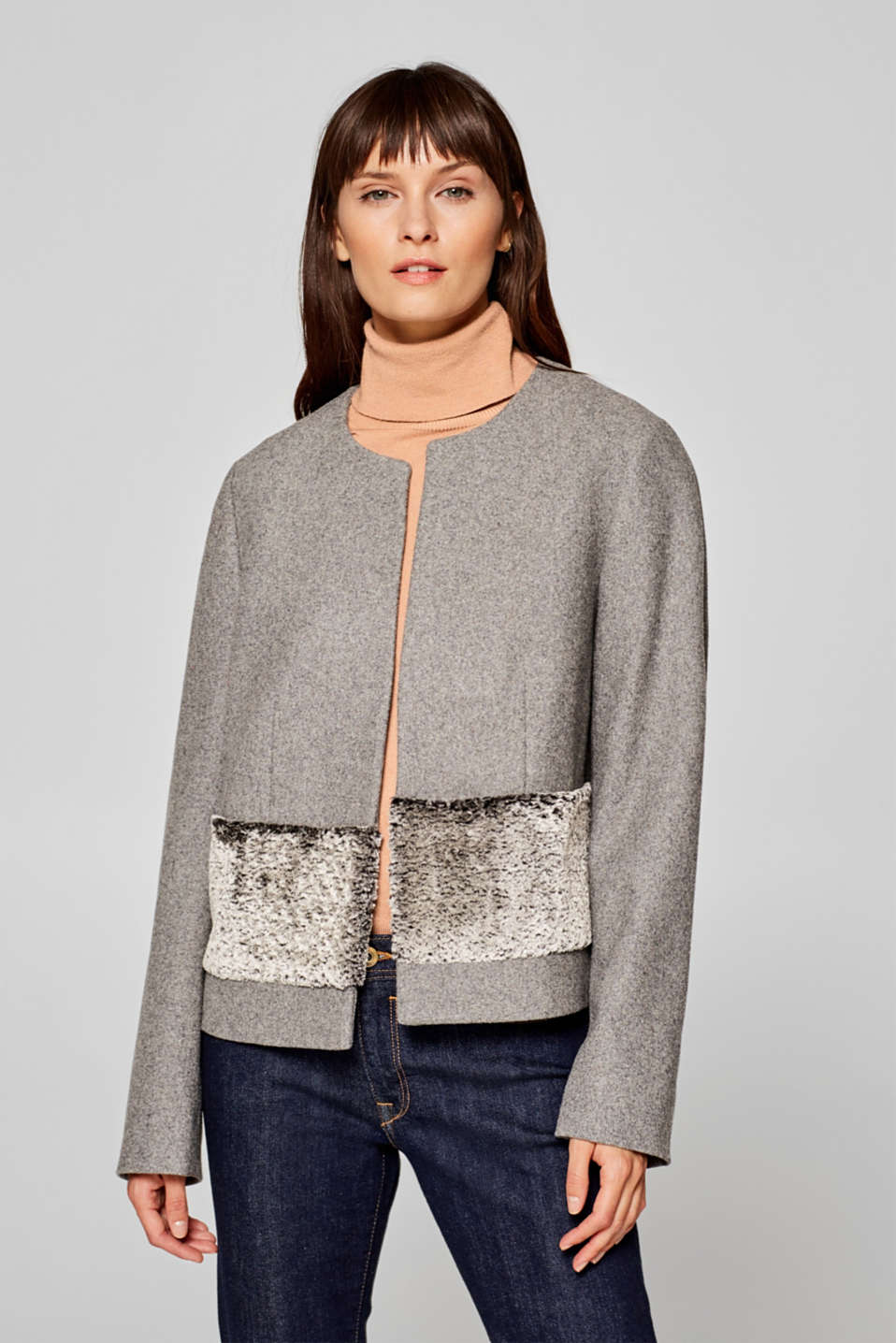 Esprit - Made of blended wool: short jacket with faux fur trim