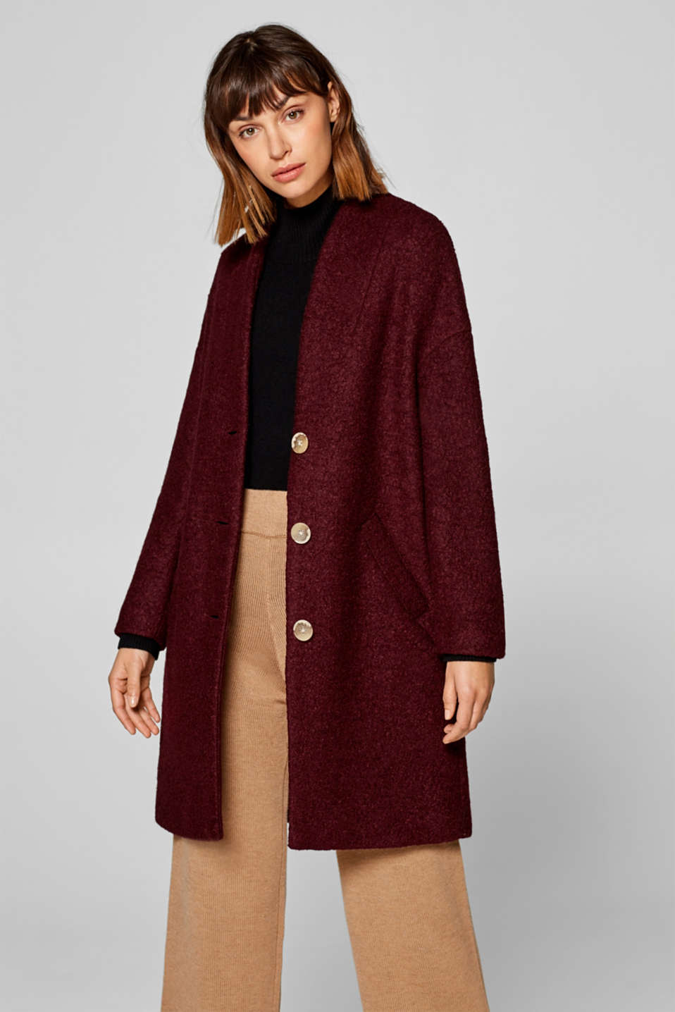 Esprit - Made of blended wool: bouclé coat in an oversized style