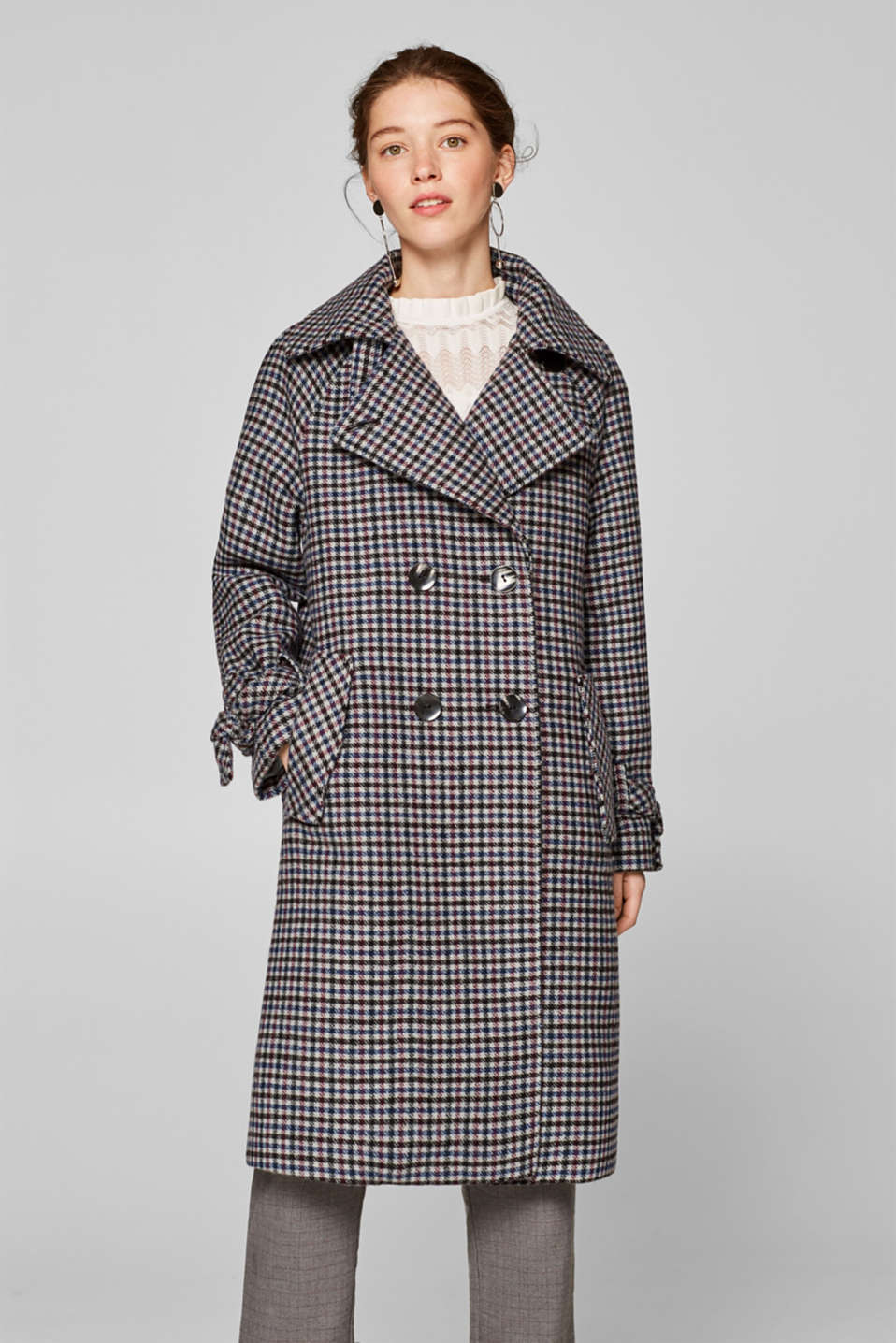 Esprit - Double-breasted, checked coat in blended wool