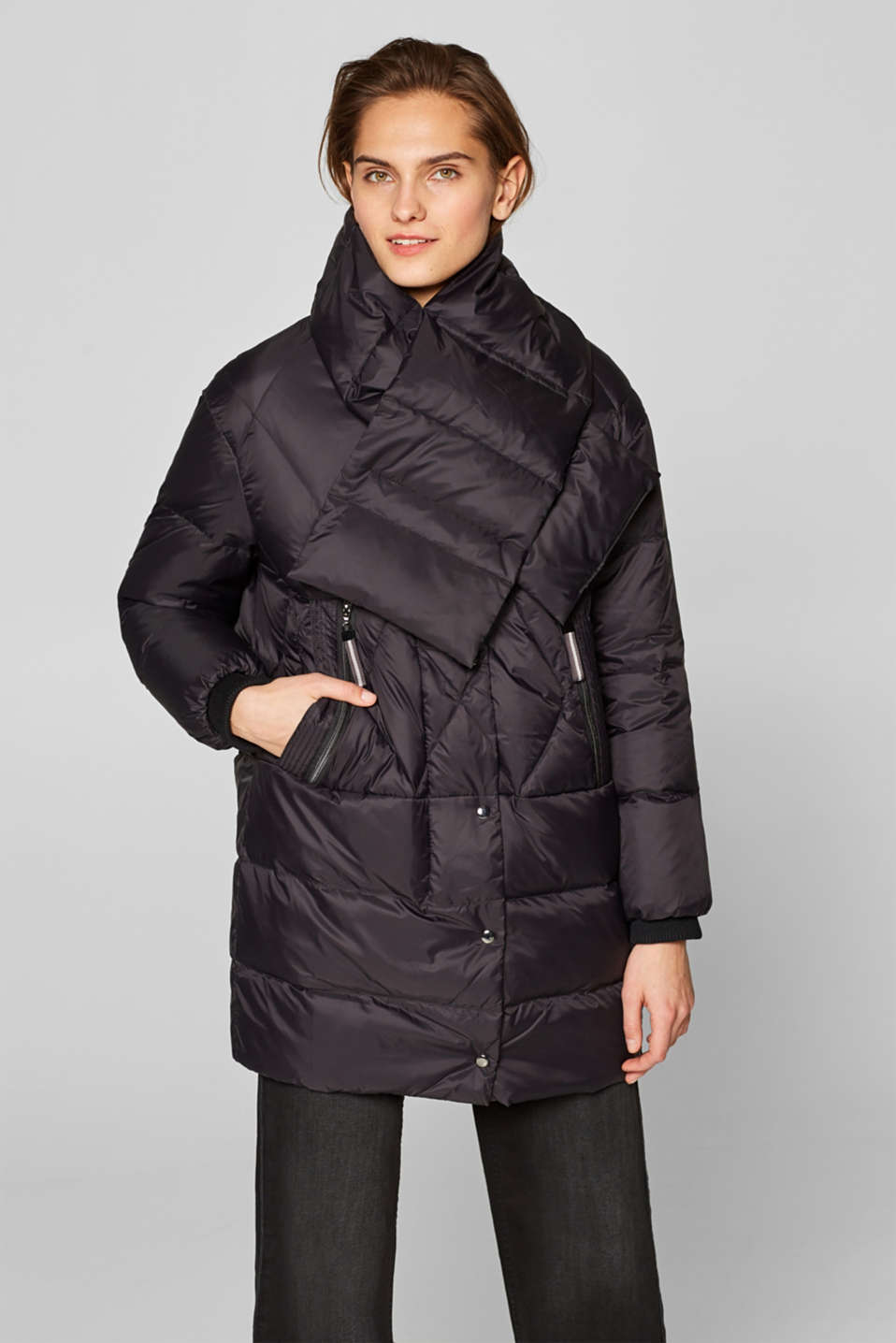 Esprit - Down jacket with a detachable scarf