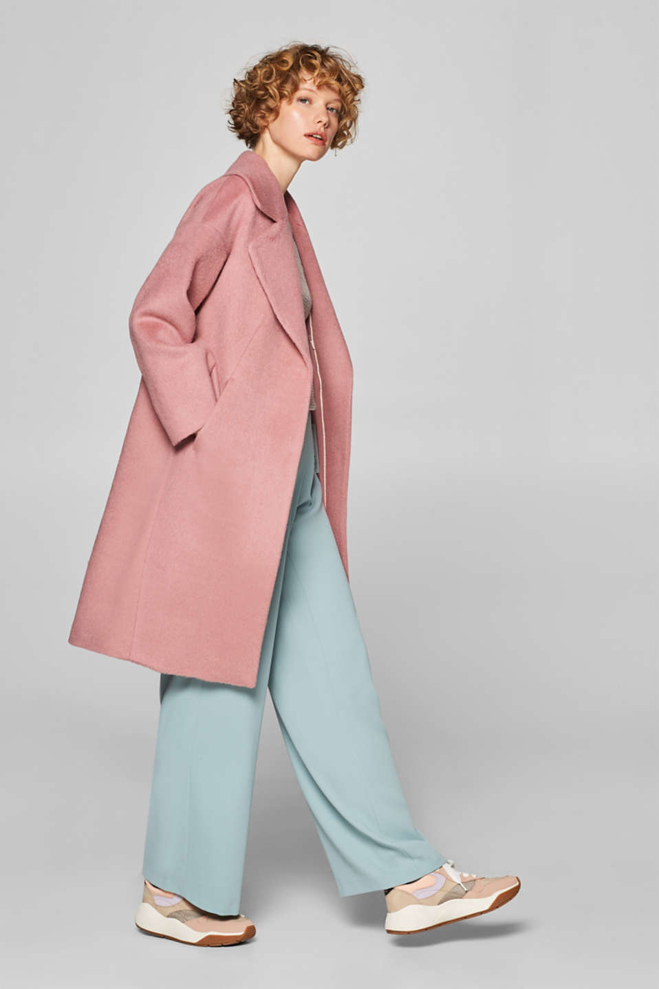Esprit - Made of blended wool: Coat with retro charm