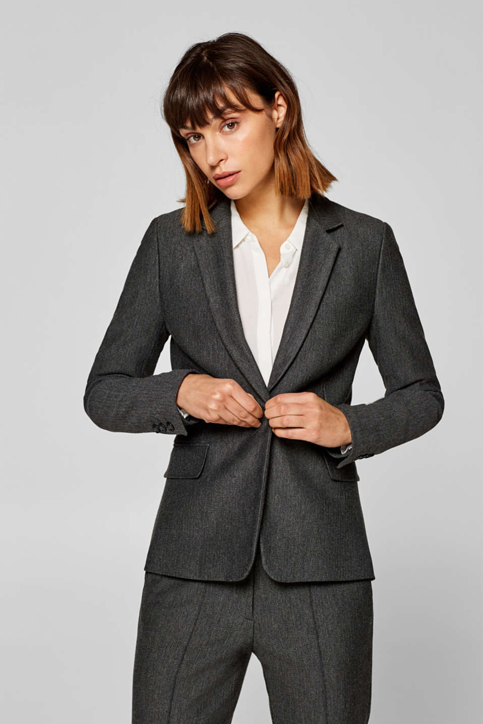 Esprit - MINI HERRINGBONE Mix + Match Stretch-Blazer