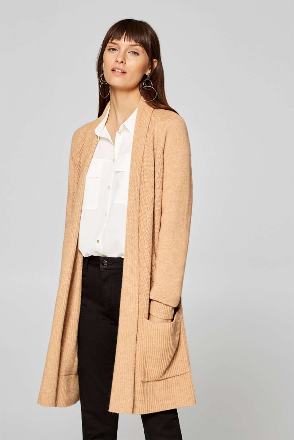 Esprit - Made of blended wool: cardigan with a shawl collar