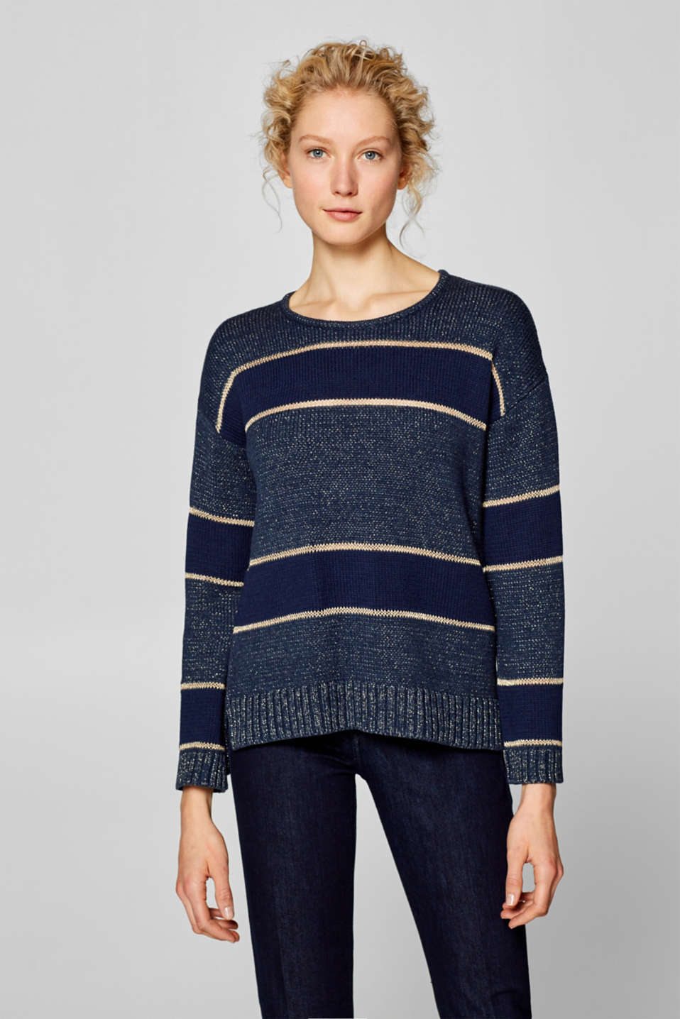 Esprit - Jumper with glittering block stripes
