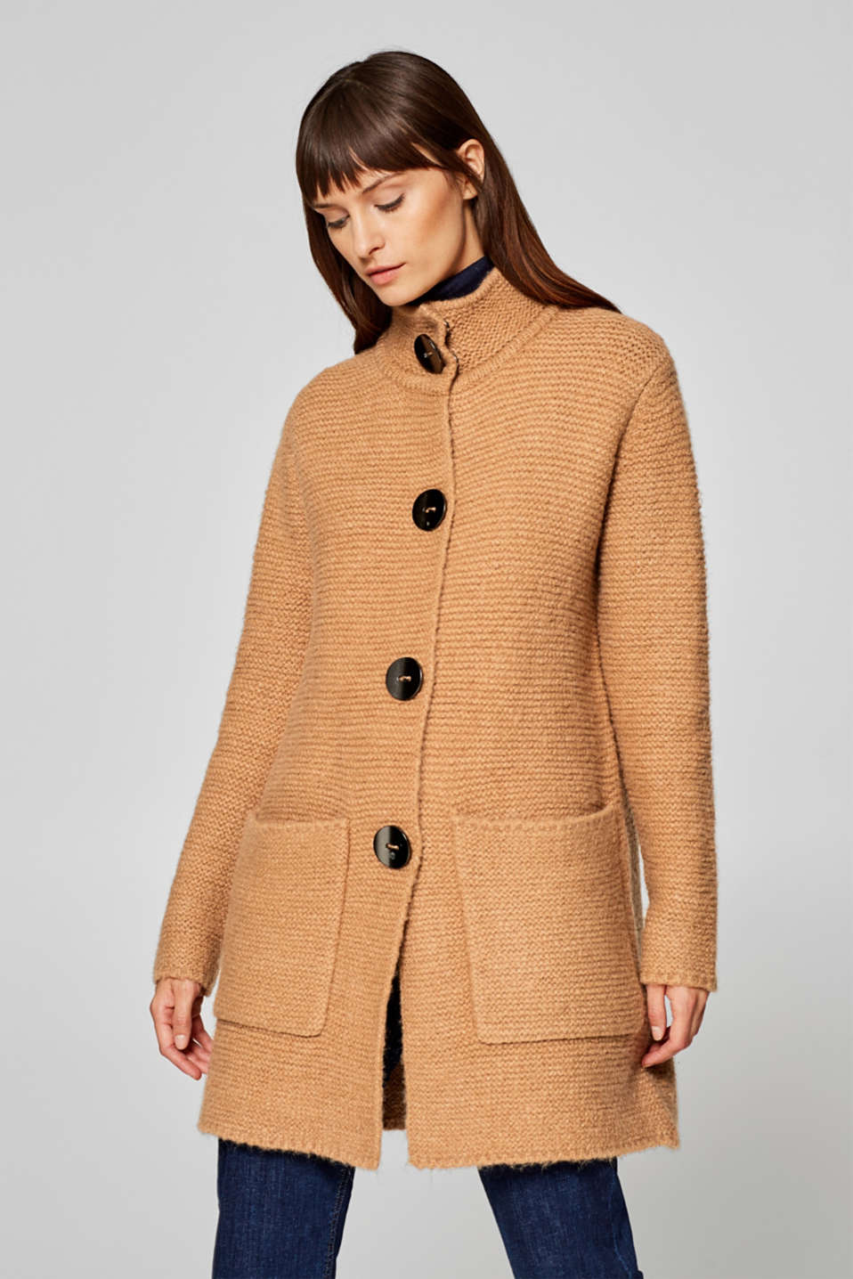Esprit - Wool blend: long cardigan in a two-tone look