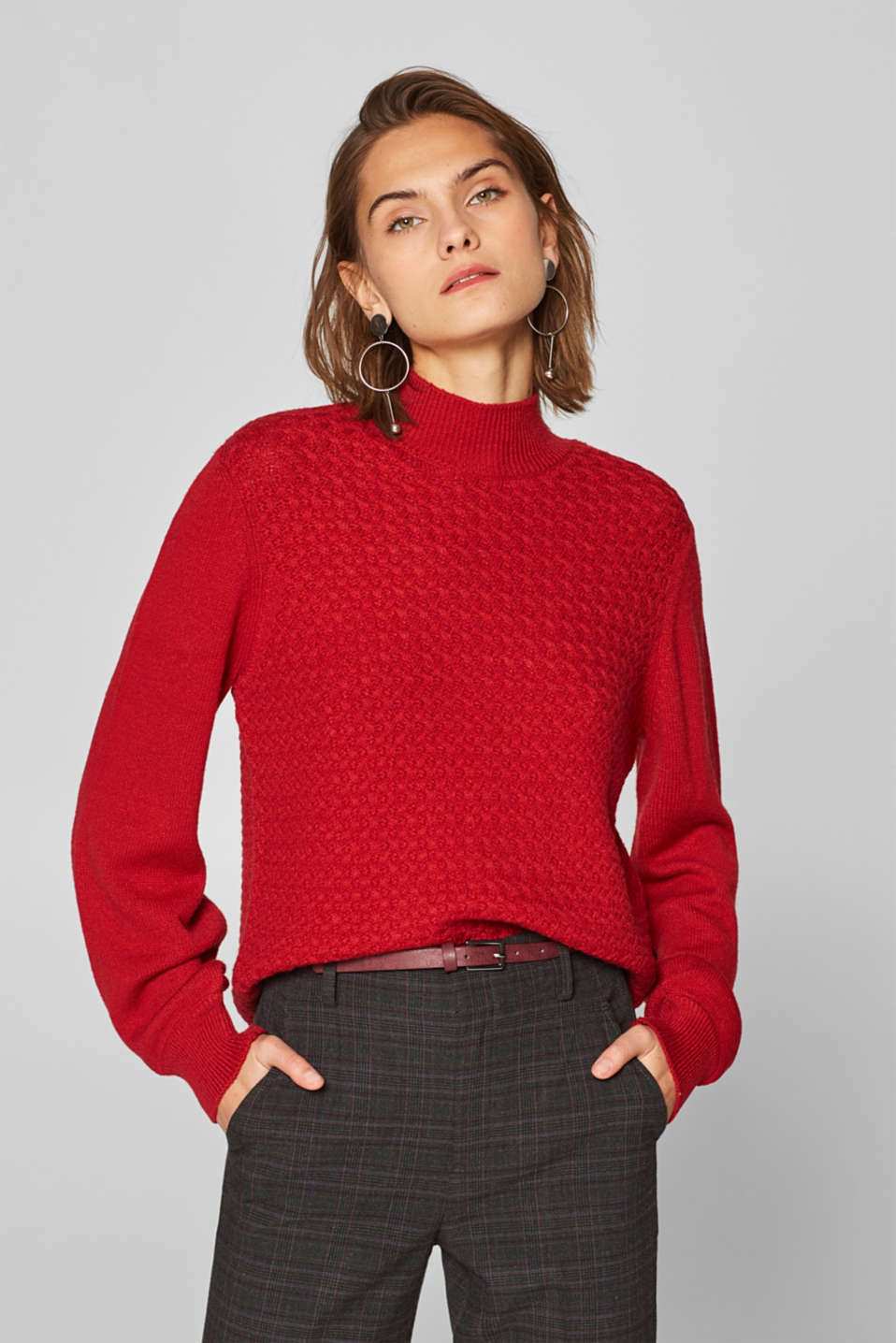 Esprit - Turtleneck jumper with balloon sleeves
