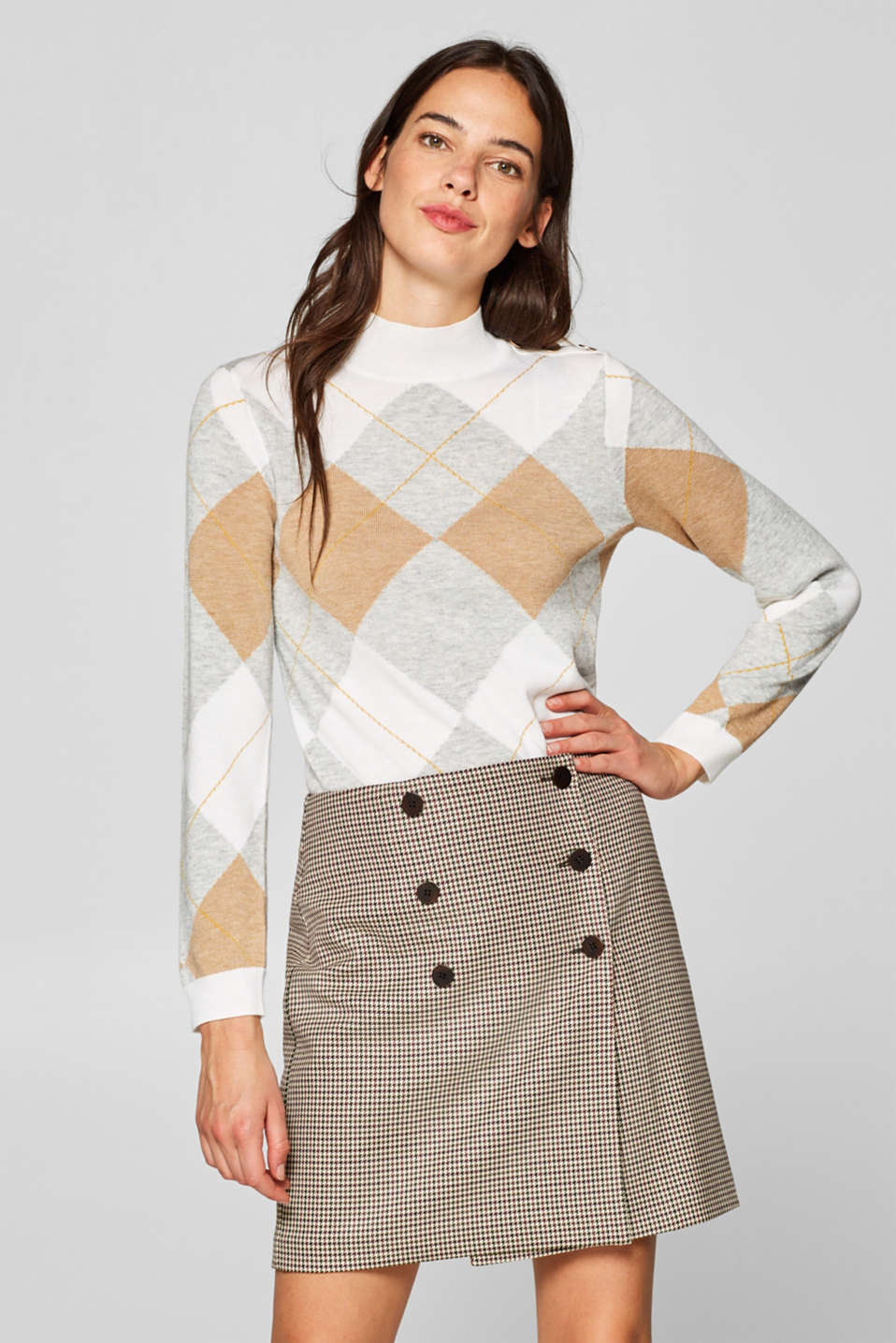 Esprit - Jumper with an Argyle check pattern and buttons made of blended wool