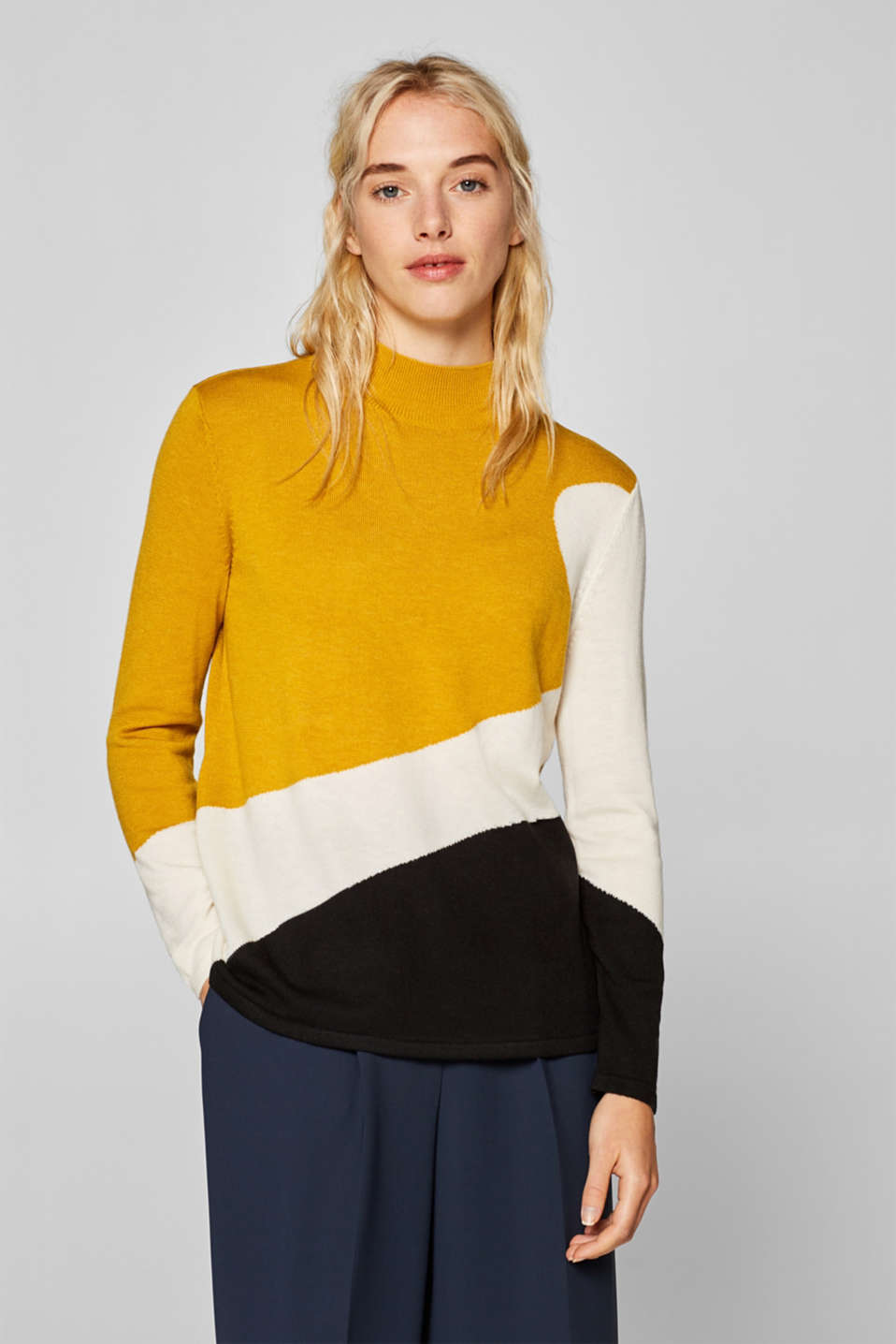 Esprit - Med uld: pullover med colourblock-look