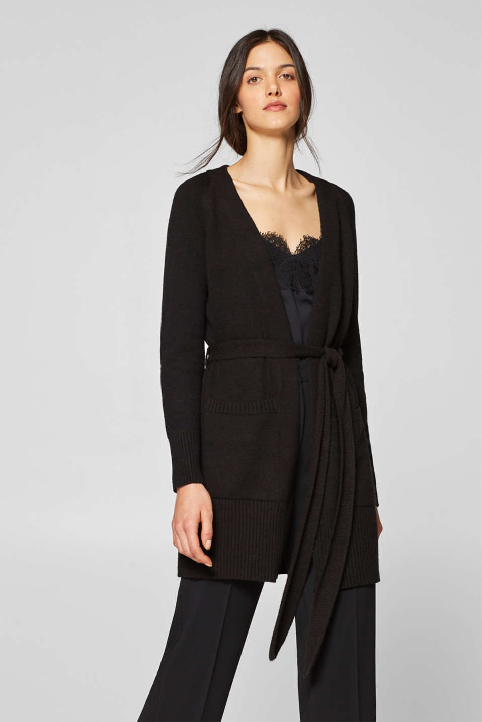 Esprit - Long cardigan with a shawl collar and belt